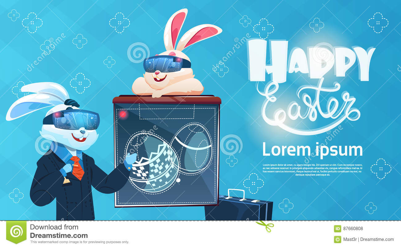 Rabbit wear digital glasses virtual reality decorated eggs easter download rabbit wear digital glasses virtual reality decorated eggs easter holiday greeting card stock vector m4hsunfo