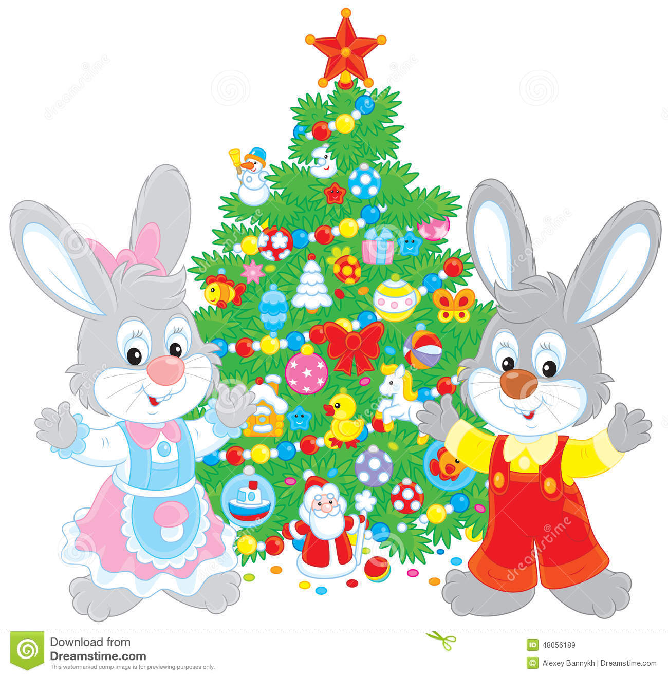 download rabbits and christmas tree stock vector illustration of celebrating 48056189