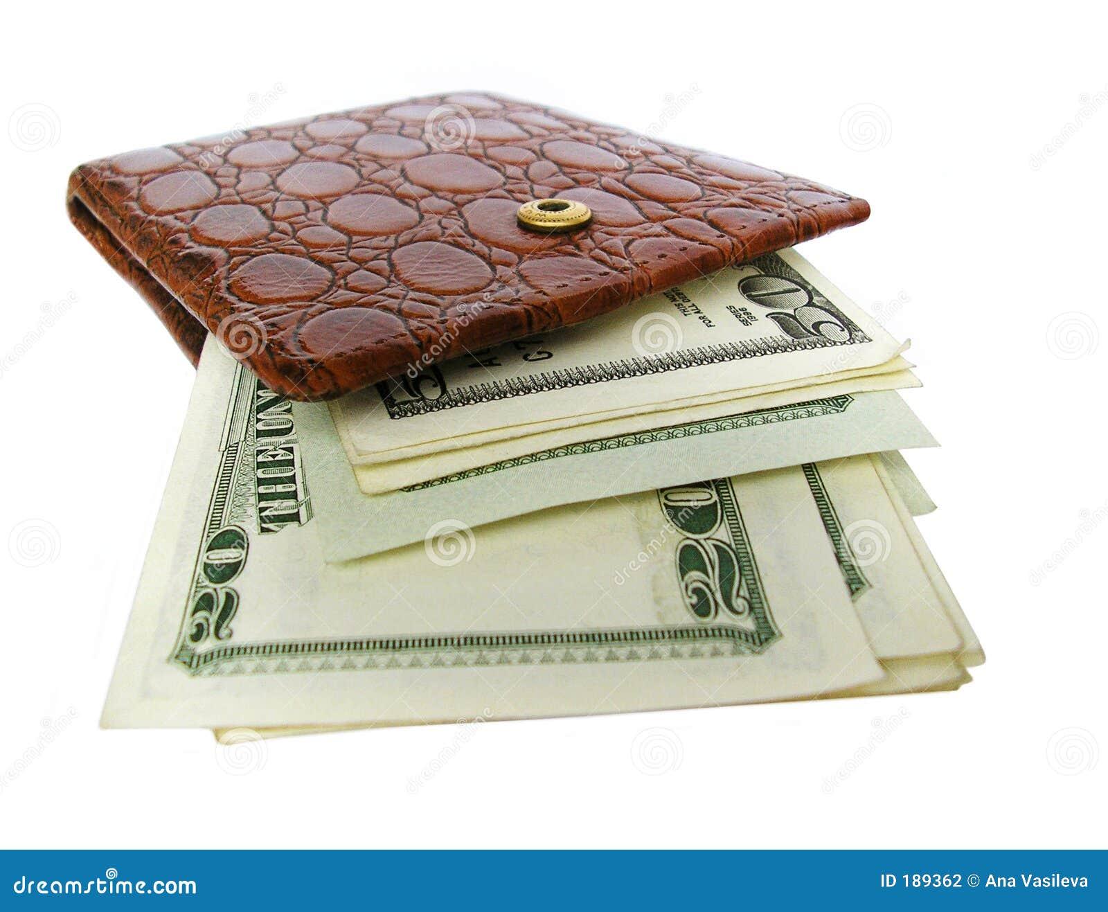 Raccoglitore di cuoio in pieno delle fatture del dollaro
