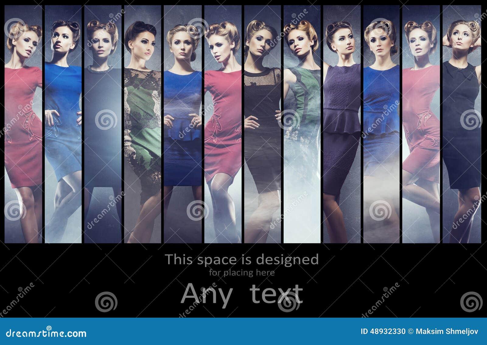Raccolta alla moda delle donne differenti che posano in vestiti