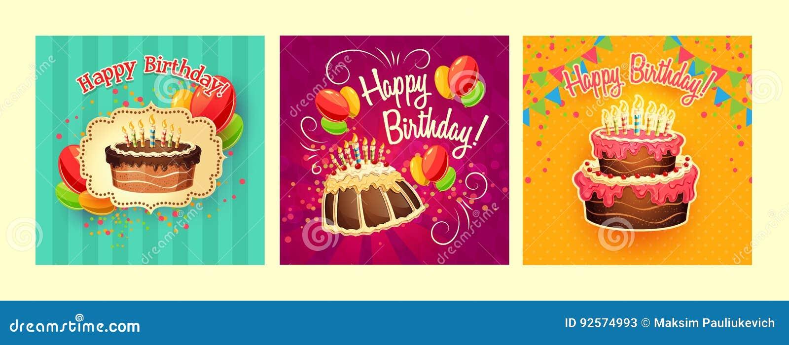 Raccolta degli ambiti di provenienza del fumetto di vettore con le torte di compleanno e le candele