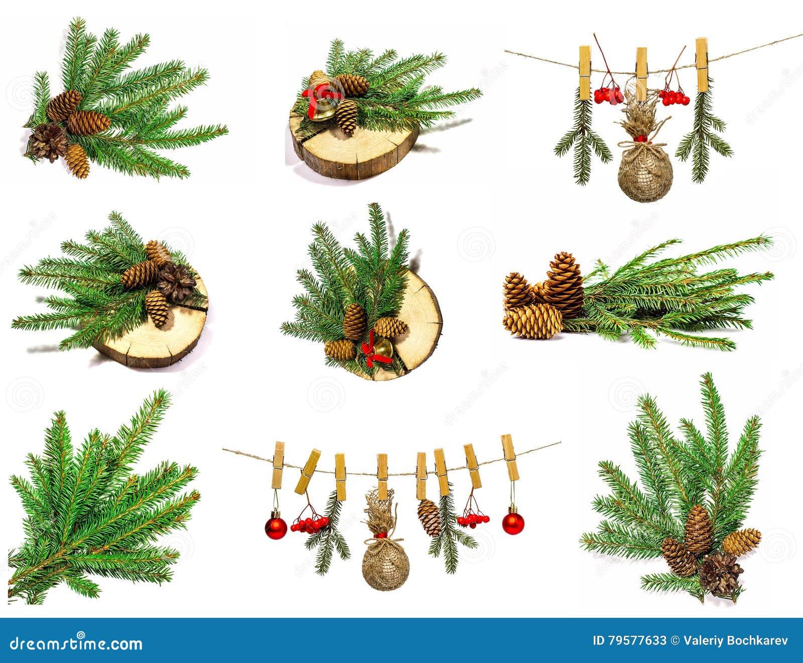 Raccolta degli oggetti di Natale isolati su bianco
