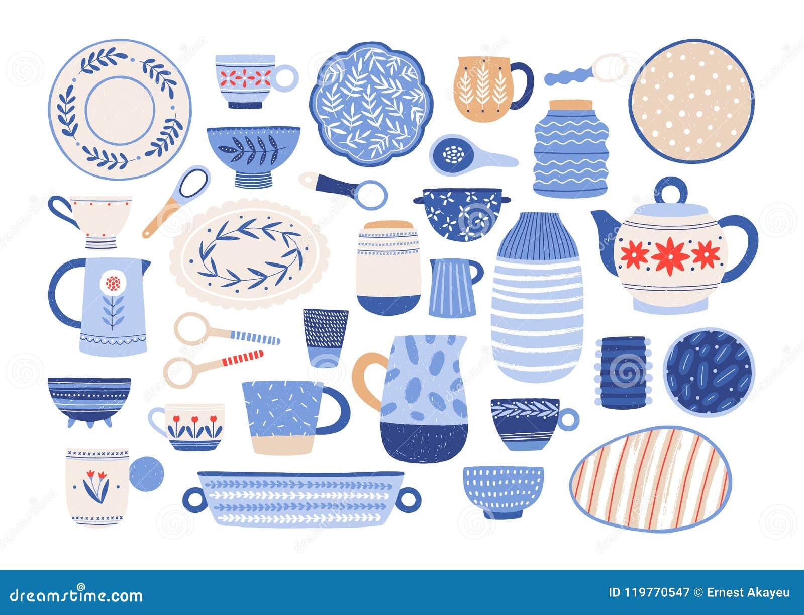 Raccolta Degli Utensili Della Cucina O Delle Terrecotte Ceramici ...