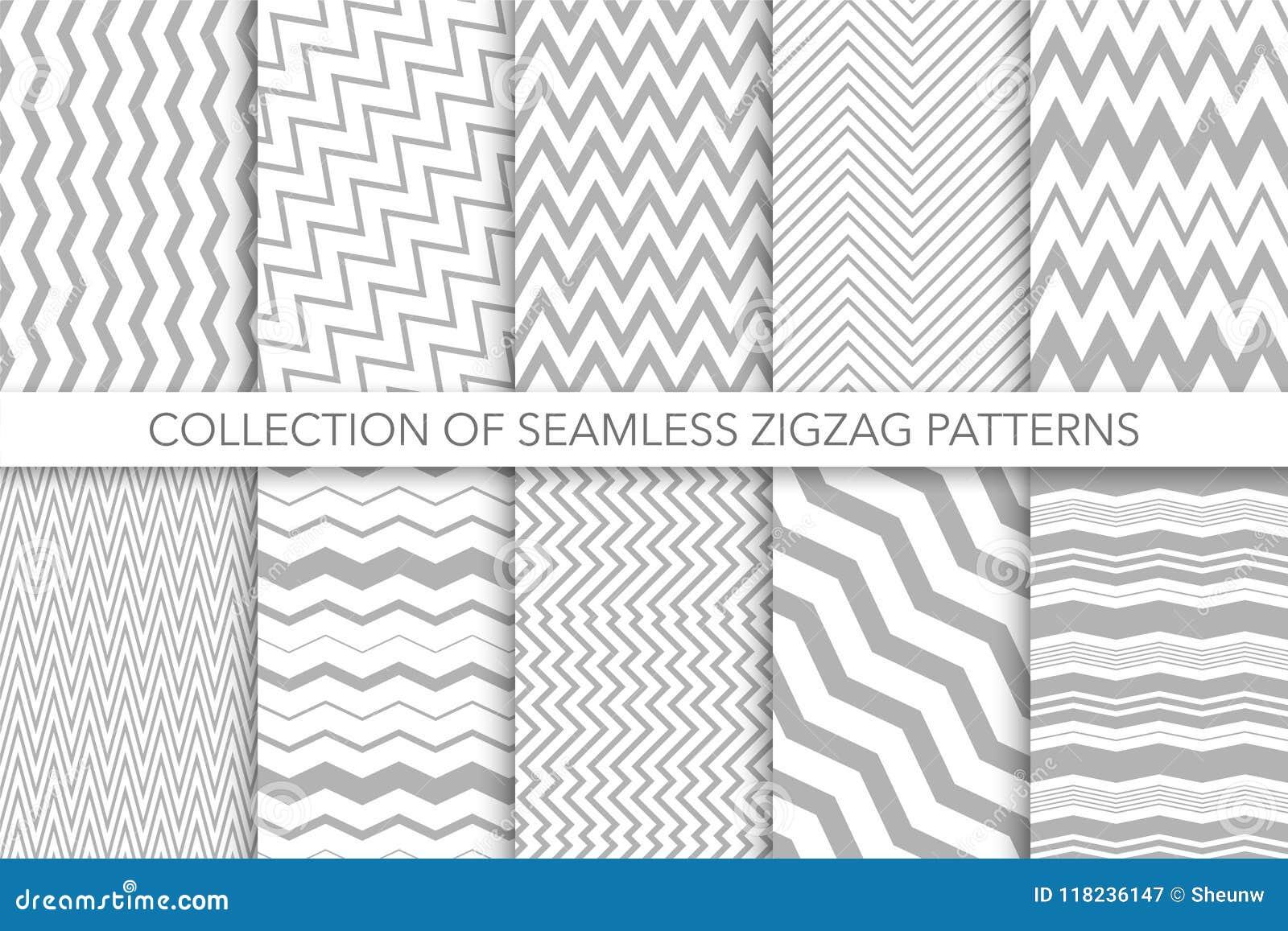Raccolta dei modelli di zigzag senza cuciture - vector la progettazione geometrica Strutture a strisce classiche