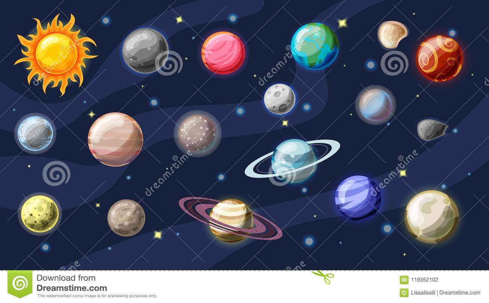 Raccolta del fumetto di vettore del sistema solare Pianeti, lune di terra, Giove e l altro pianeta del sistema solare, con