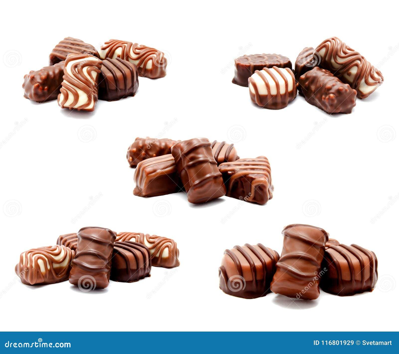 Raccolta dell assortimento delle foto dell isolante dei dolci delle caramelle di cioccolato