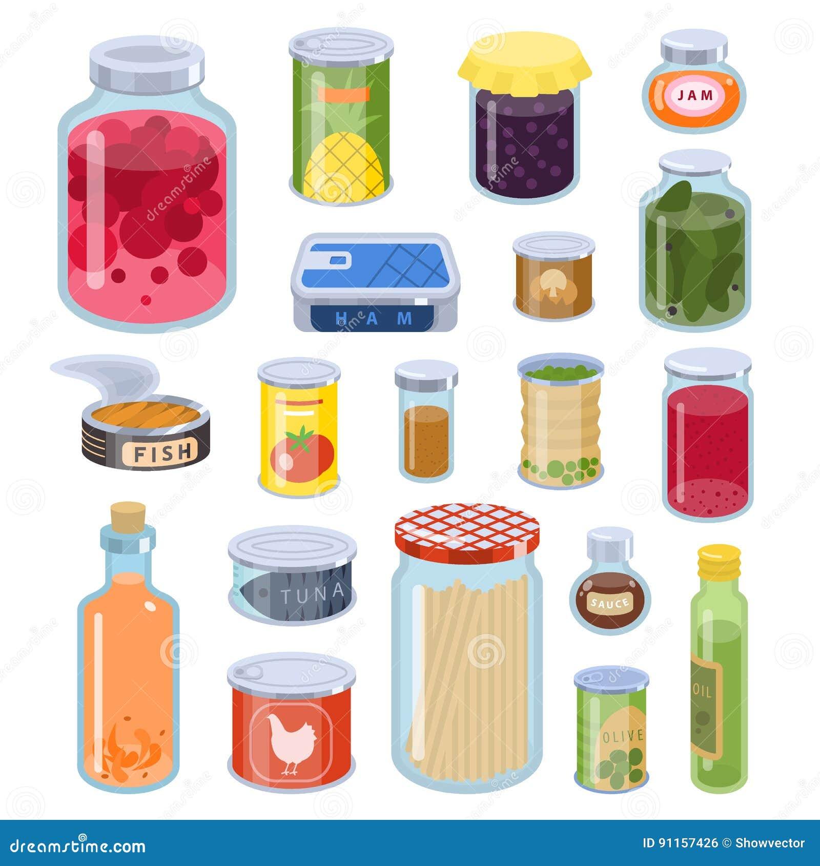 Raccolta dell illustrazione di vettore del vario delle latte delle merci inscatolate metallo dell alimento e del contenitore di v