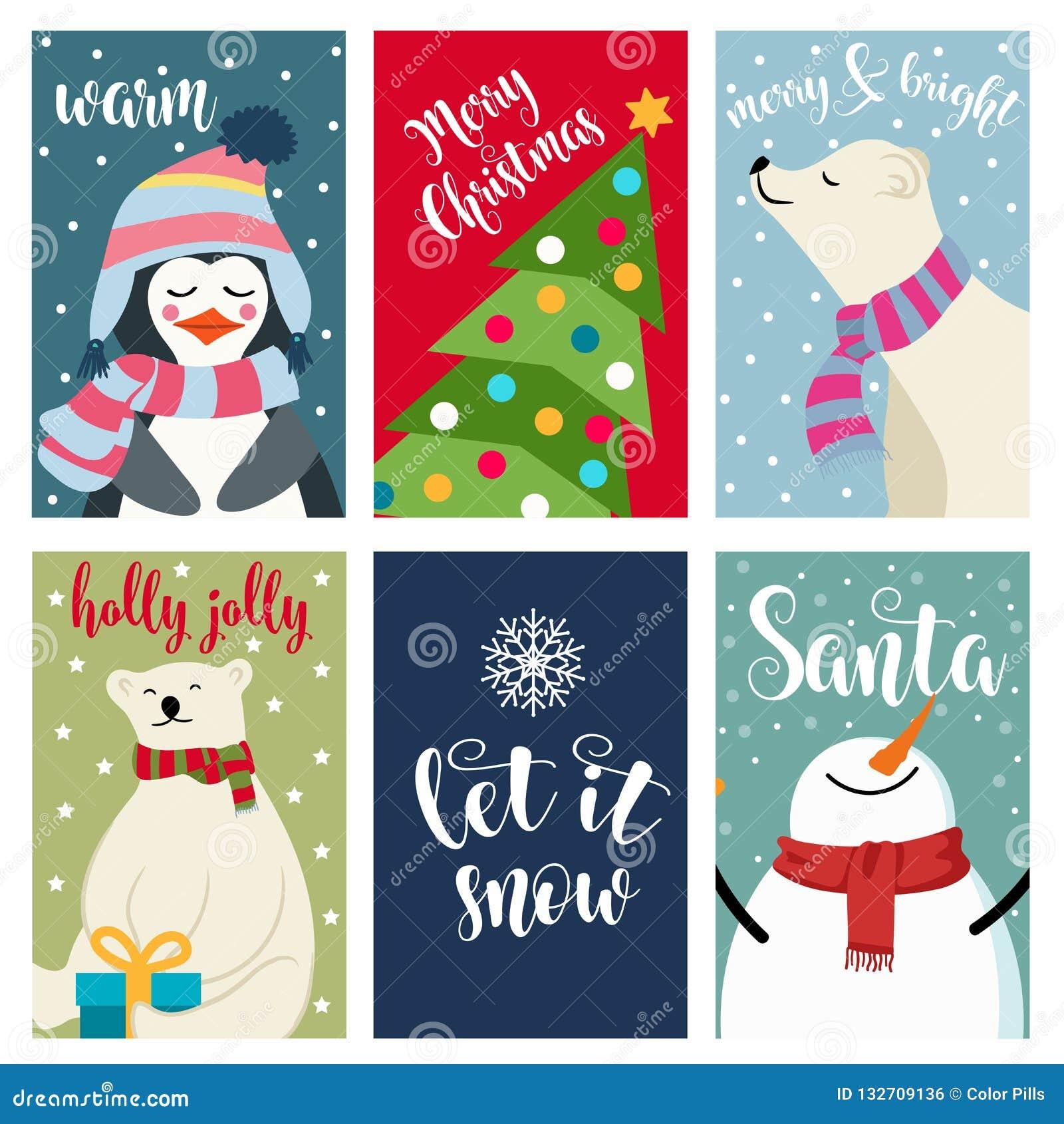 Raccolta della cartolina di Natale con gli orsi polari ed i desideri