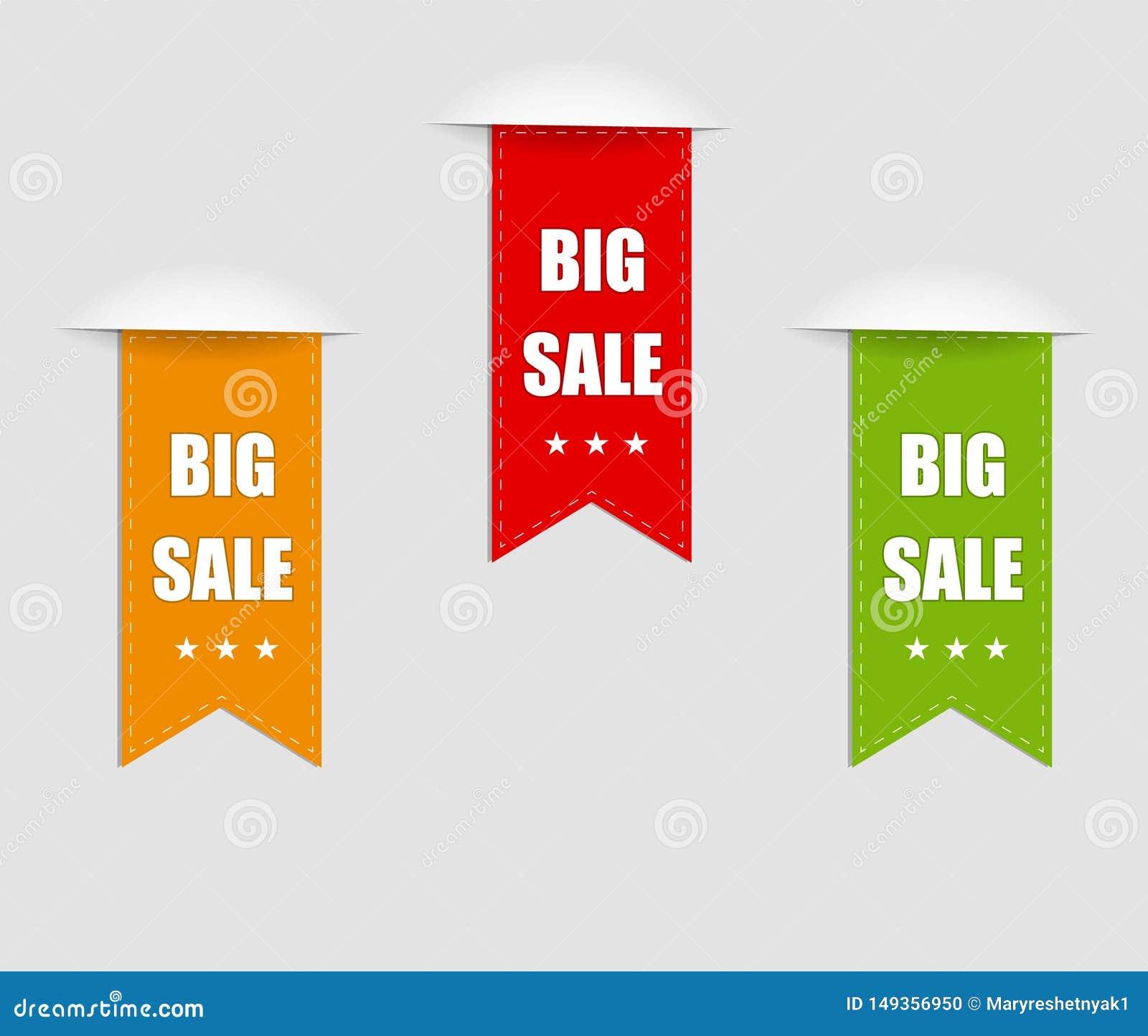 Raccolta della vendita, insegne, etichette, etichette, Tally Emblems, carte, progettazione piana Vettore