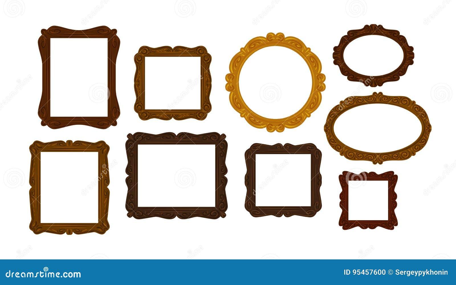 Raccolta delle cornici di legno d annata Specchio, icona del ritratto o simbolo Illustrazione di vettore