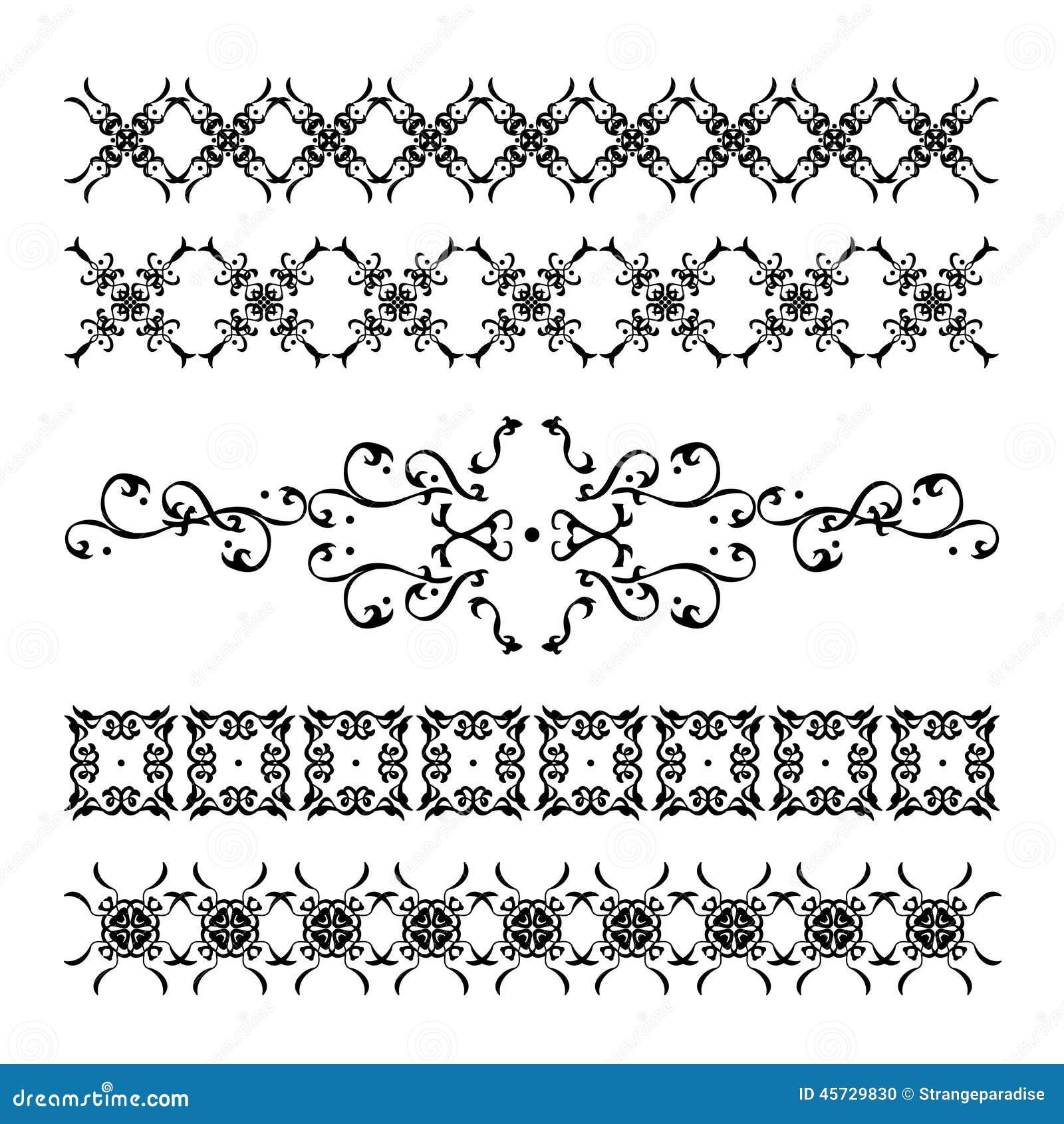 Le decorazioni ed i modelli calligrafici eleganti e fini hanno messo per i  confini, gli ambiti di provenienza, le pagine e le strutture Il nero
