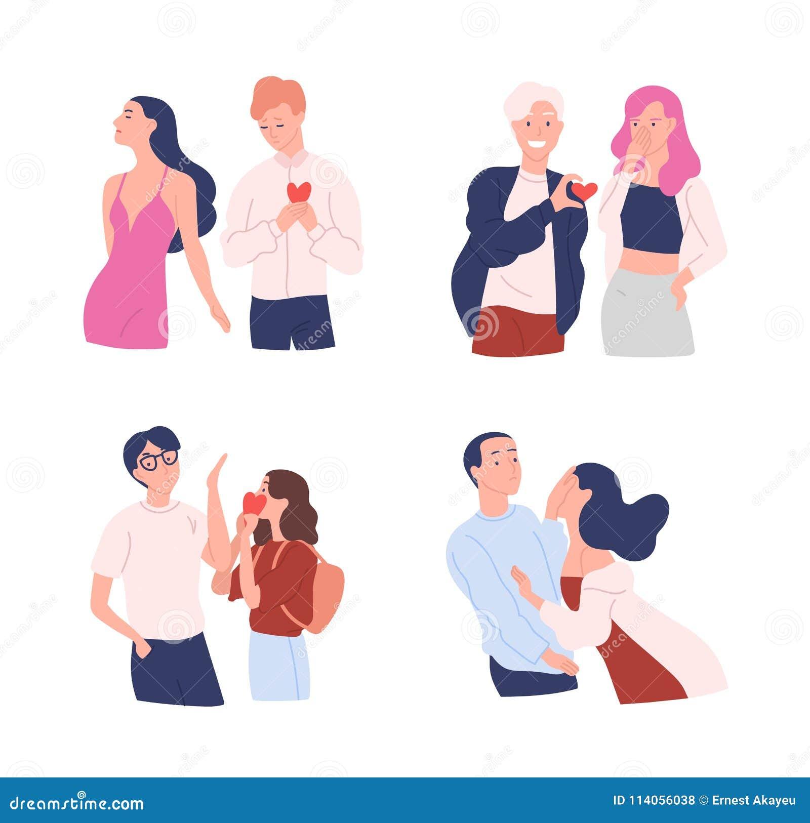 Raccolta delle donne e degli uomini che provano a presentare i loro cuori a quello caro Amore non corrisposto, unilaterale o rifi
