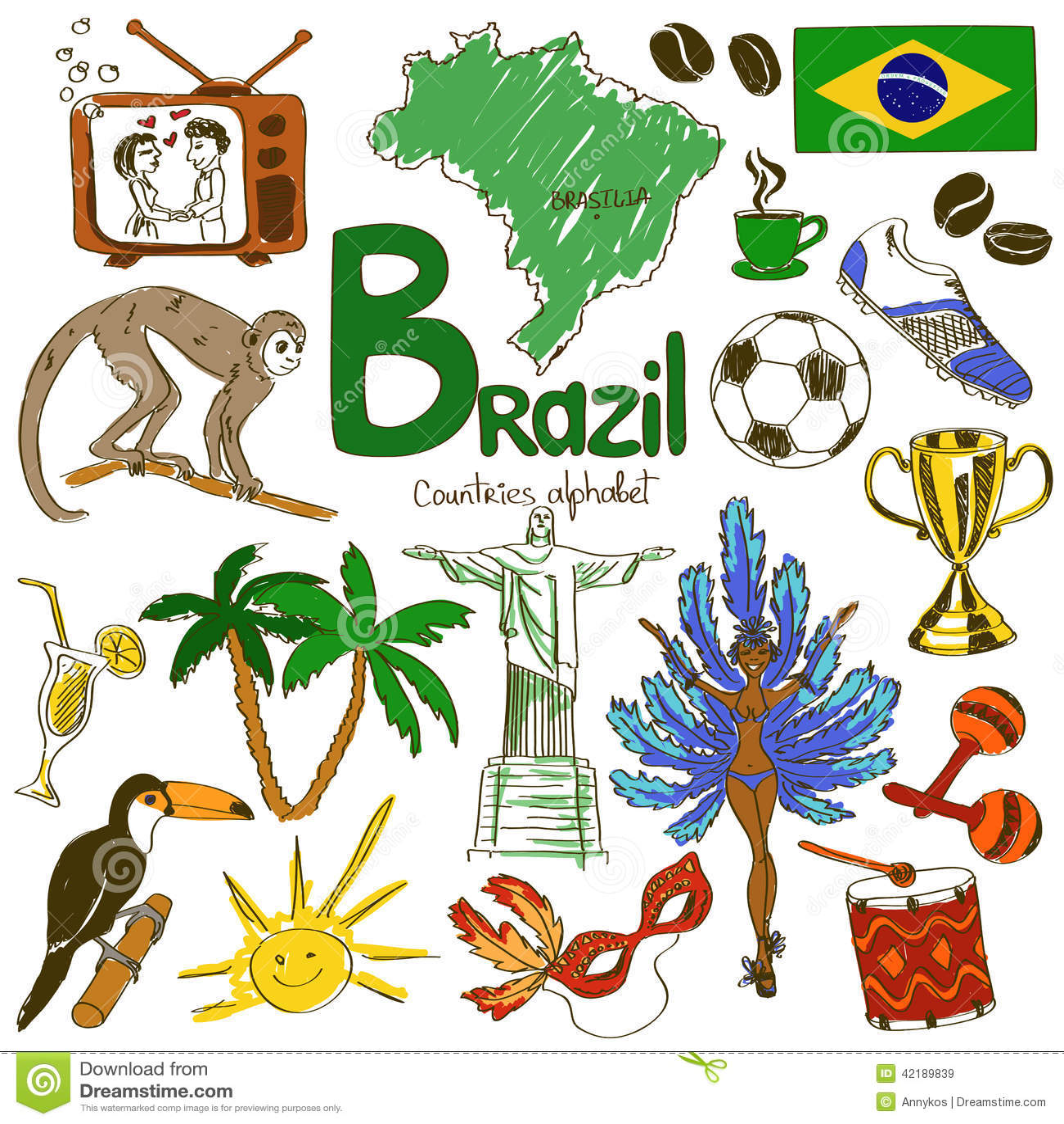 raccolta delle icone del brasile illustrazione vettoriale toucan clipart color page toucan clip art black and white