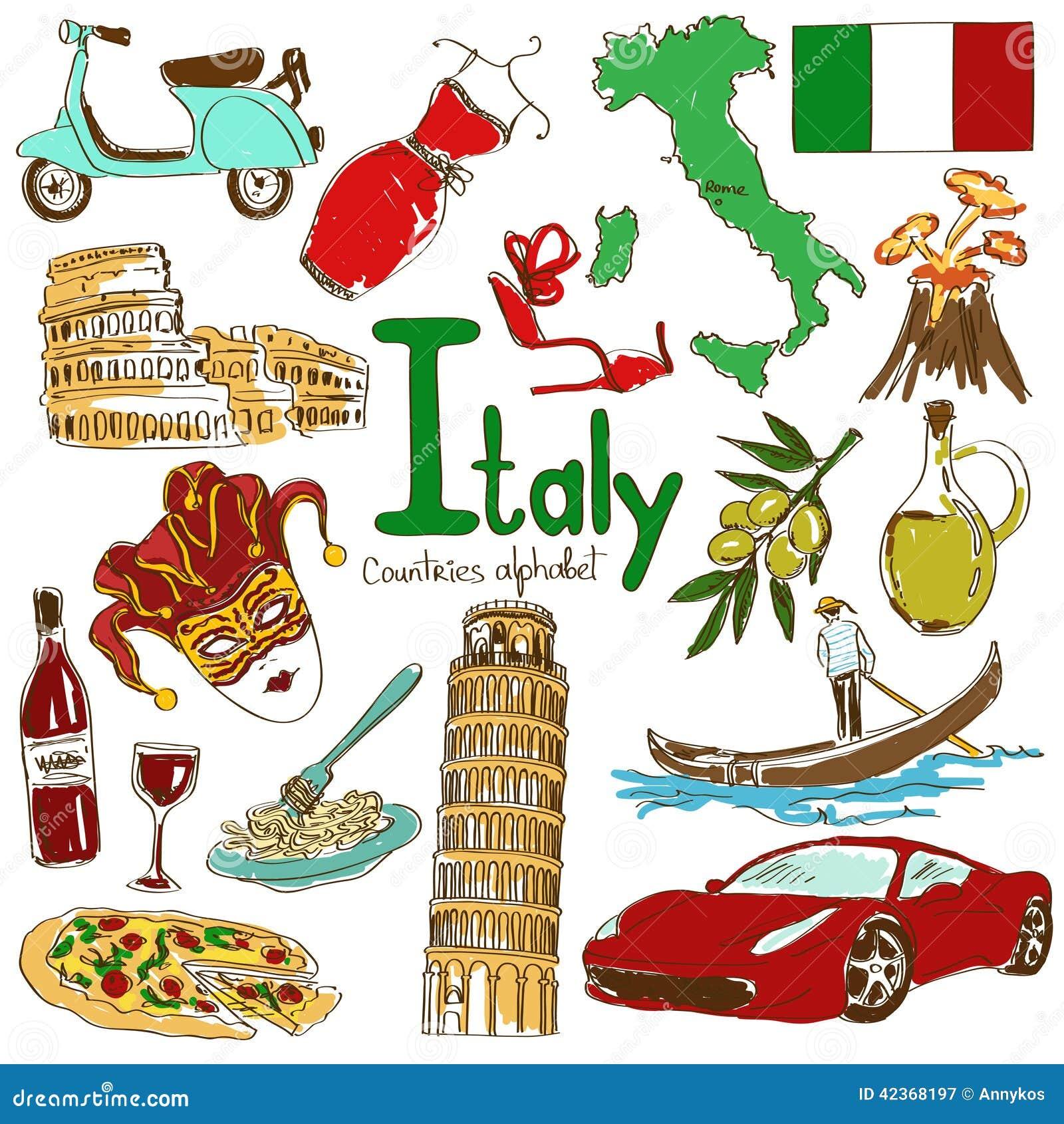 Raccolta Delle Icone Dell Italia Illustrazione Vettoriale
