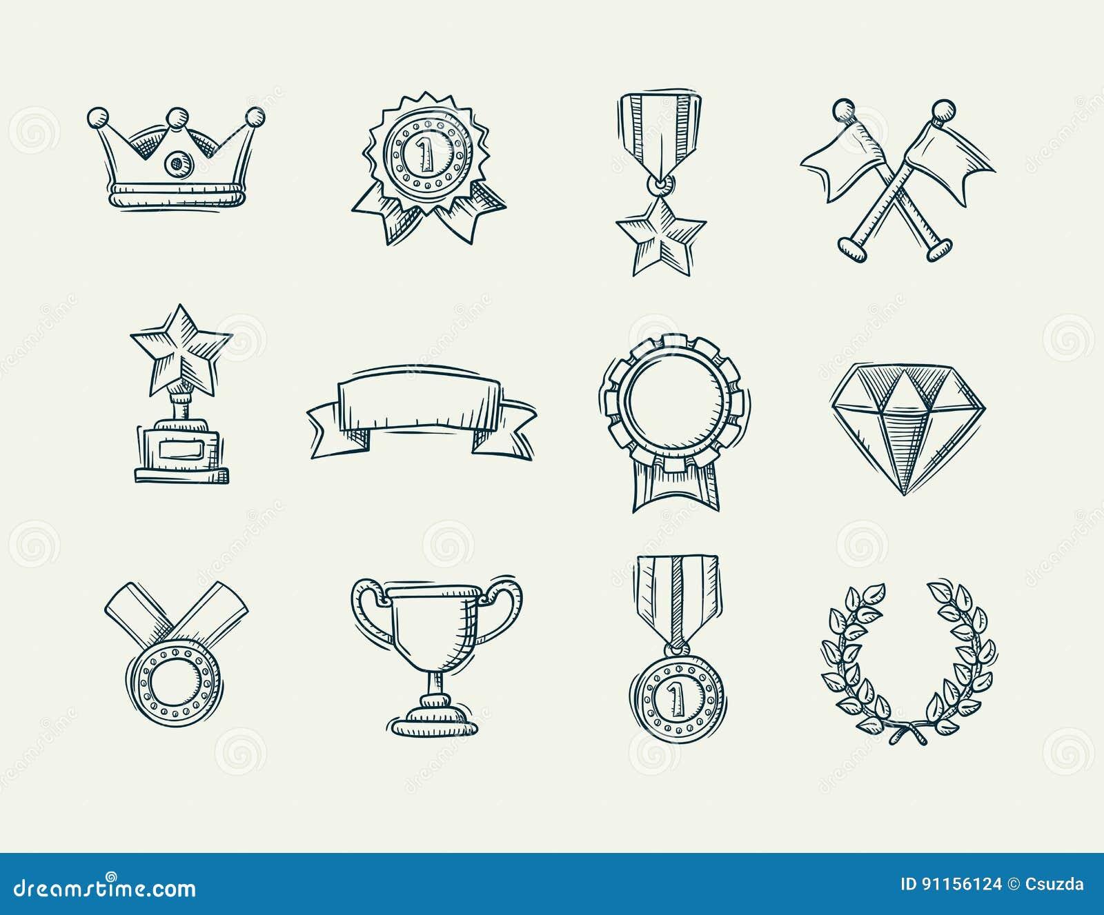 Raccolta delle icone disegnate a mano del premio di scarabocchio
