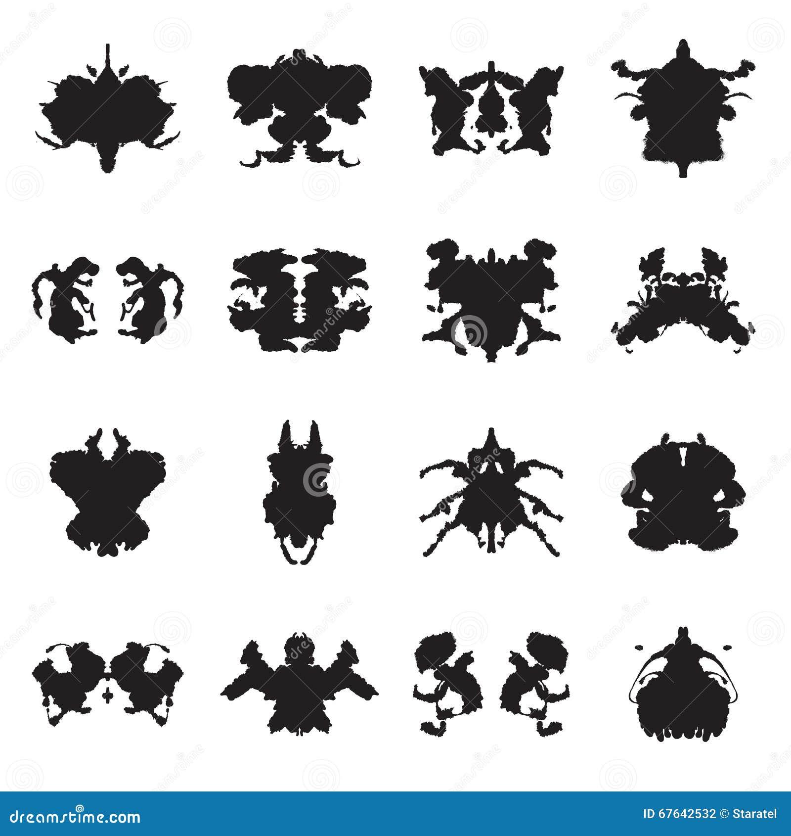 Raccolta delle macchie d 39 inchiostro della prova di rorschach illustrazione di vettore - Test di rorschach tavola 1 ...