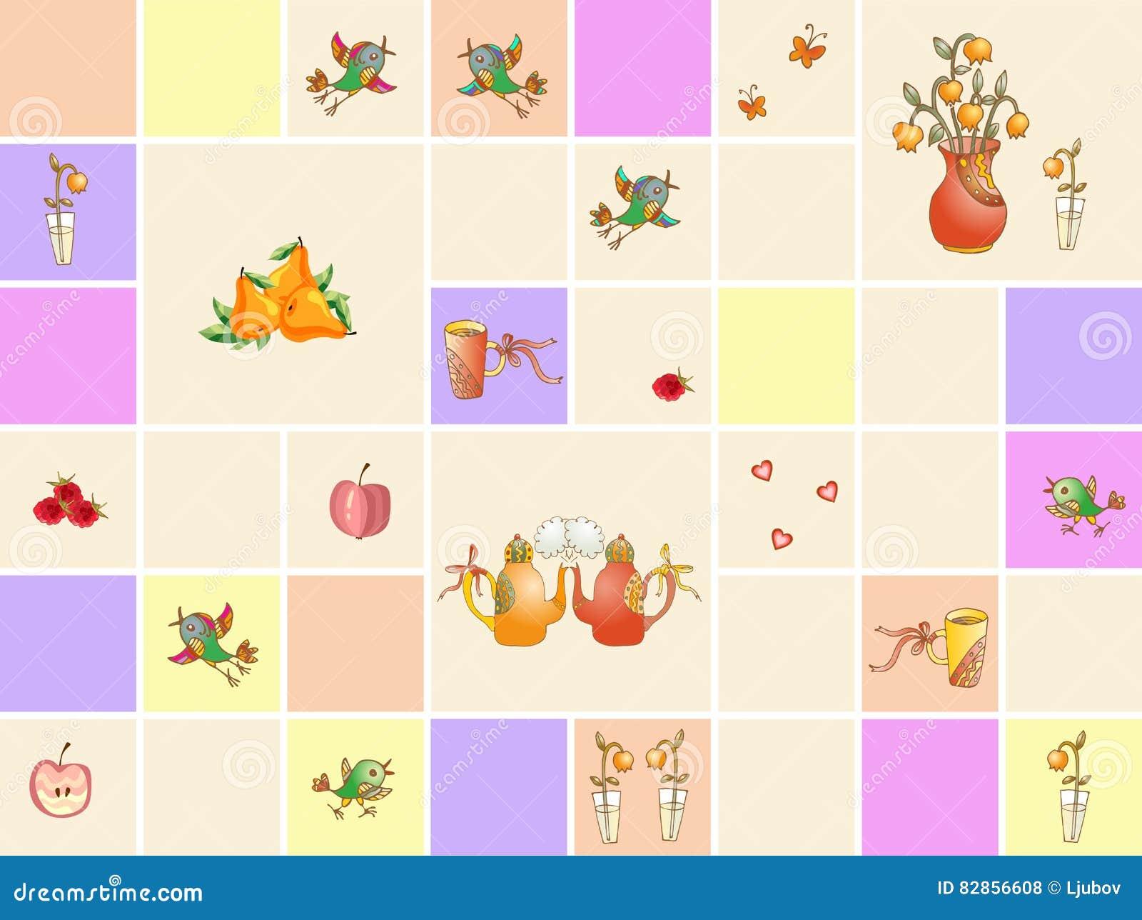 Piastrelle Cucina Con Fiori raccolta delle mattonelle ceramiche variopinte della cucina
