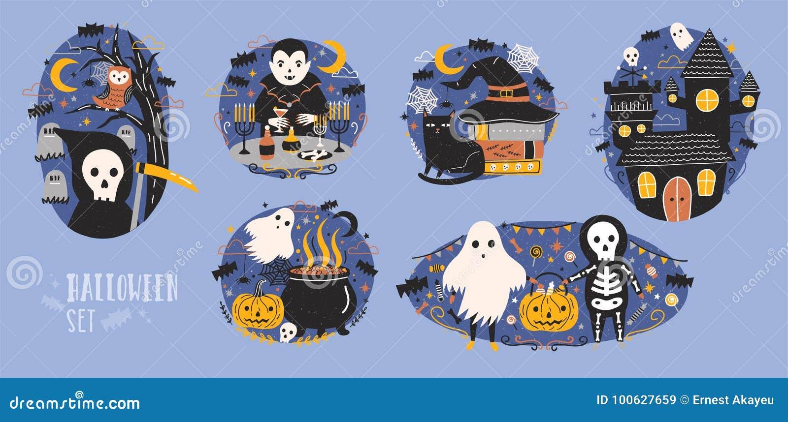 Raccolta delle scene di halloween con i personaggi dei cartoni
