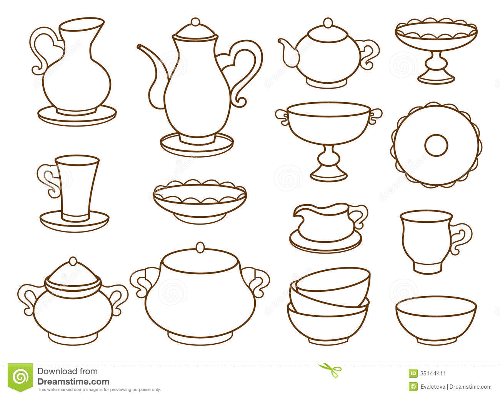 Raccolta Delle Stoviglie Della Porcellana Per Tè (libro Da Colorare). #4F1F00 1300 1048 Utensili Da Cucina Disegni