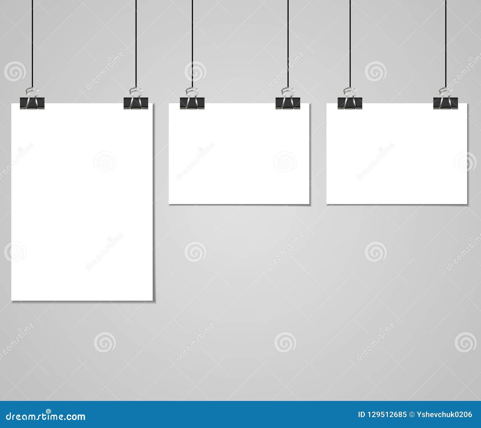 Raccolta di chiare liste di carta con il perno sui precedenti grigi Illustrazione di vettore