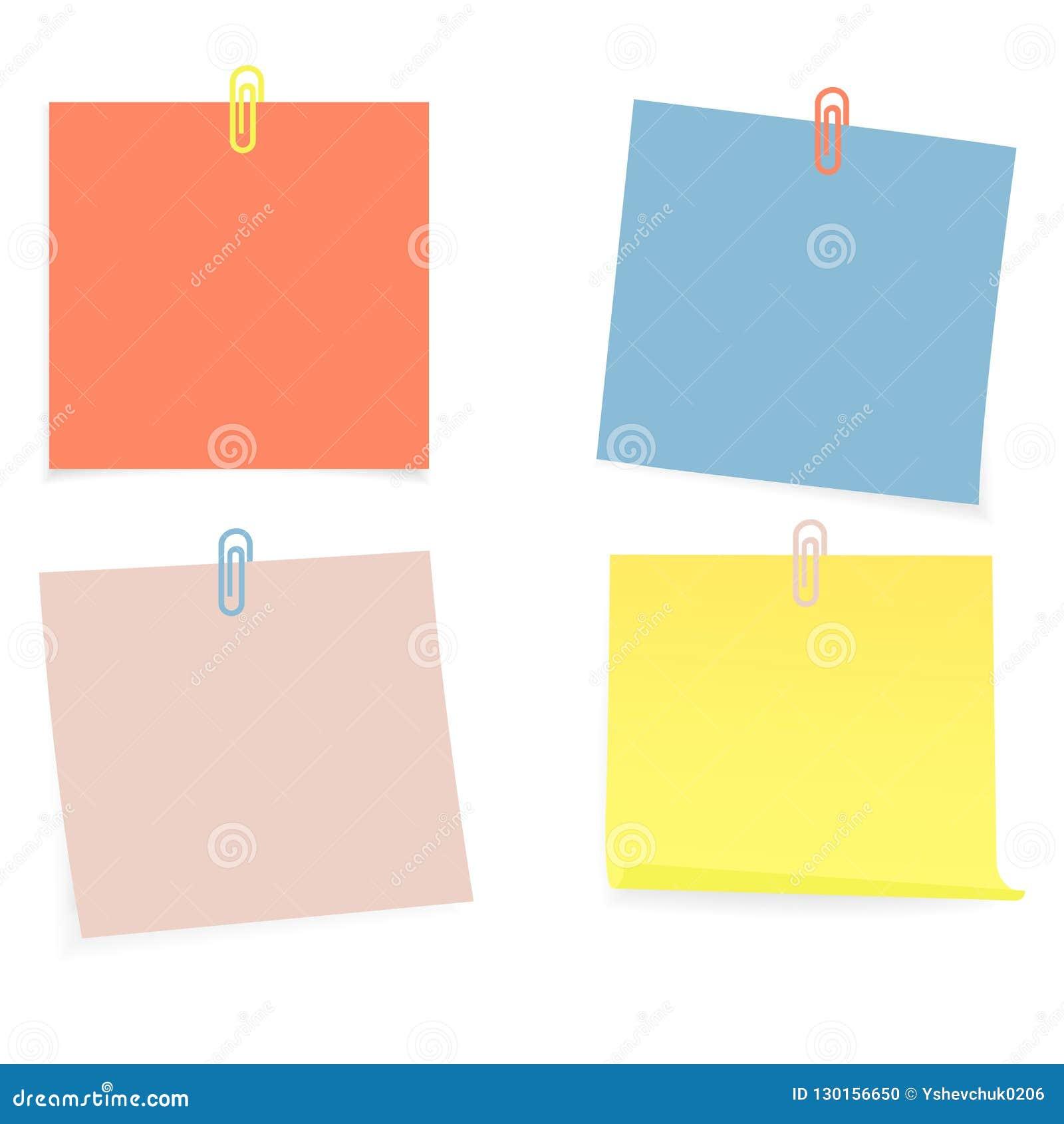 Raccolta di chiare liste di colore di carta con il perno sui precedenti bianchi Illustrazione di vettore