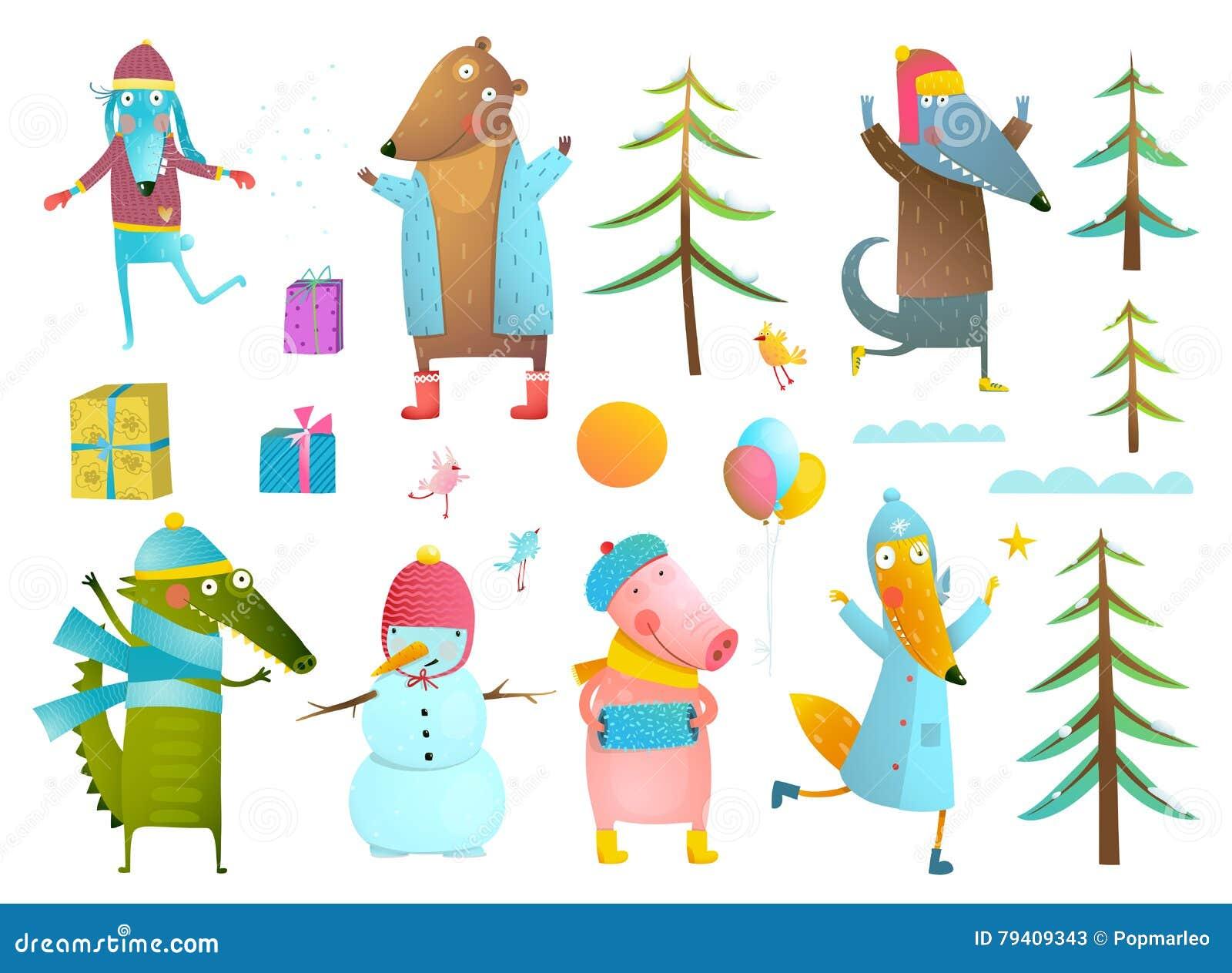 Raccolta di clipart degli animali di festa di stagione invernale per i  bambini 384531d65b9
