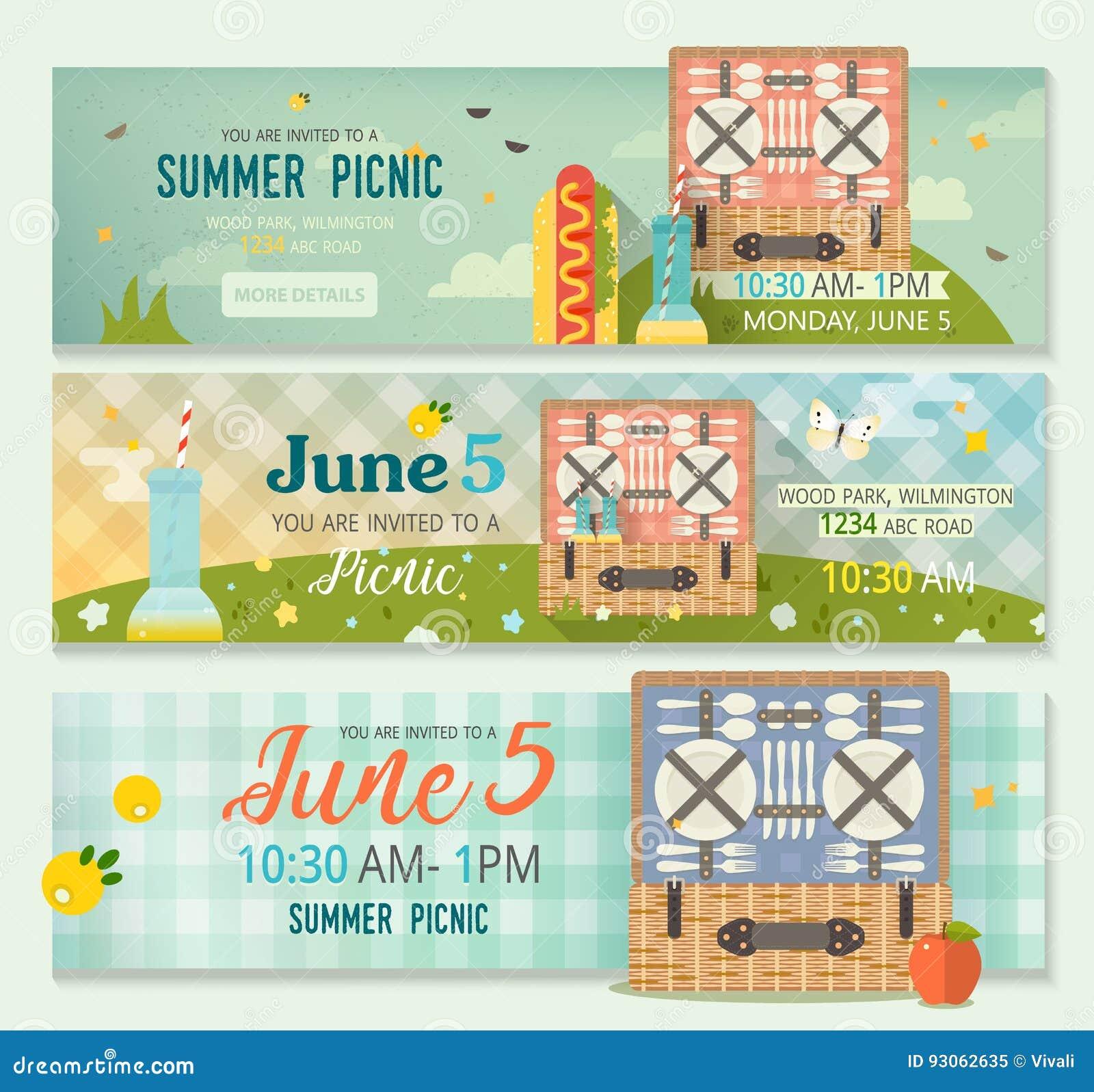 Raccolta di estate di vettore dell insegna di picnic della famiglia Insegne orizzontali messe della radura di picnic