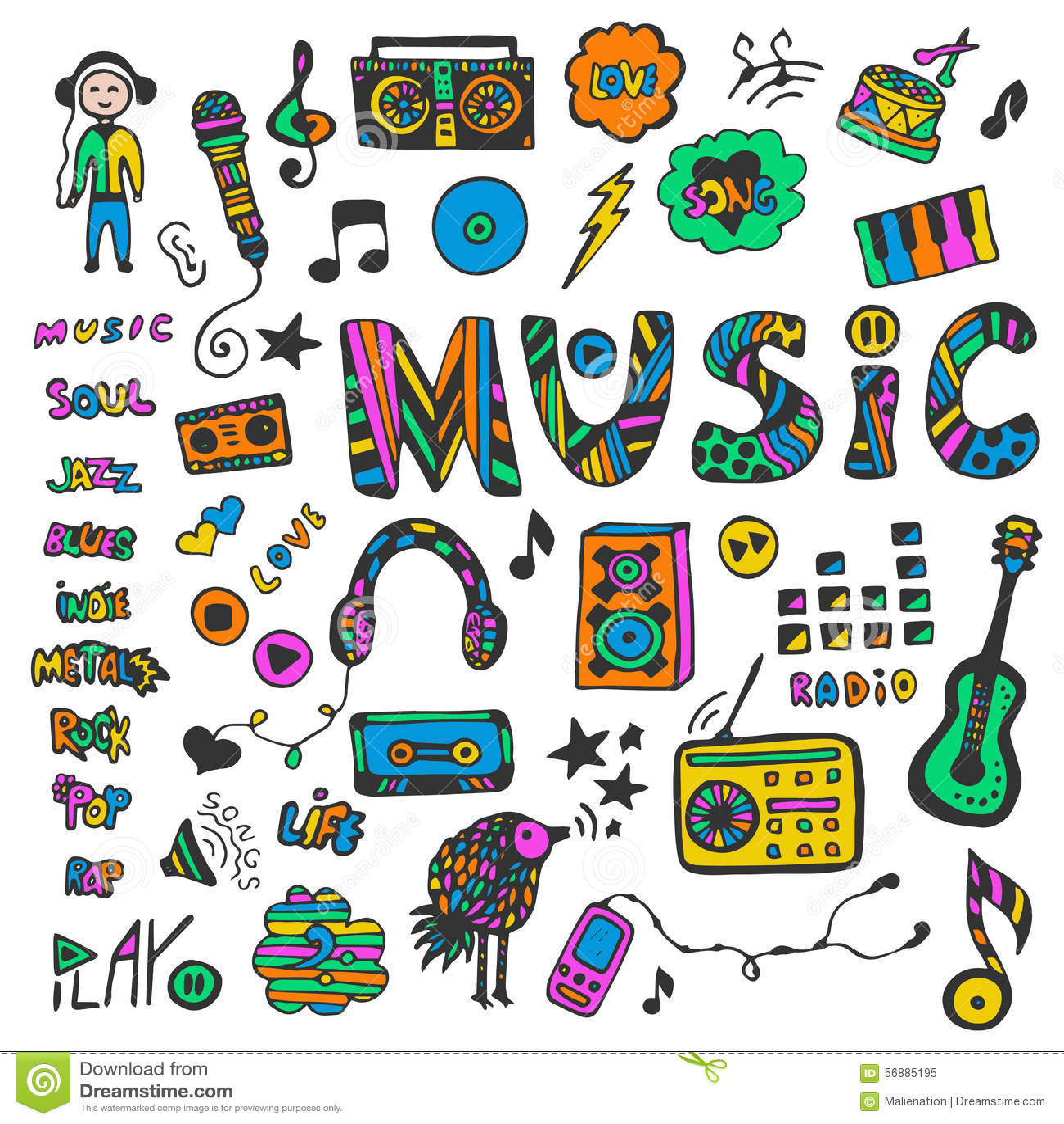 Raccolta disegnata a mano con gli scarabocchi di musica Icone variopinte di musica impostate Stile del Hippie Illustrazione di ve