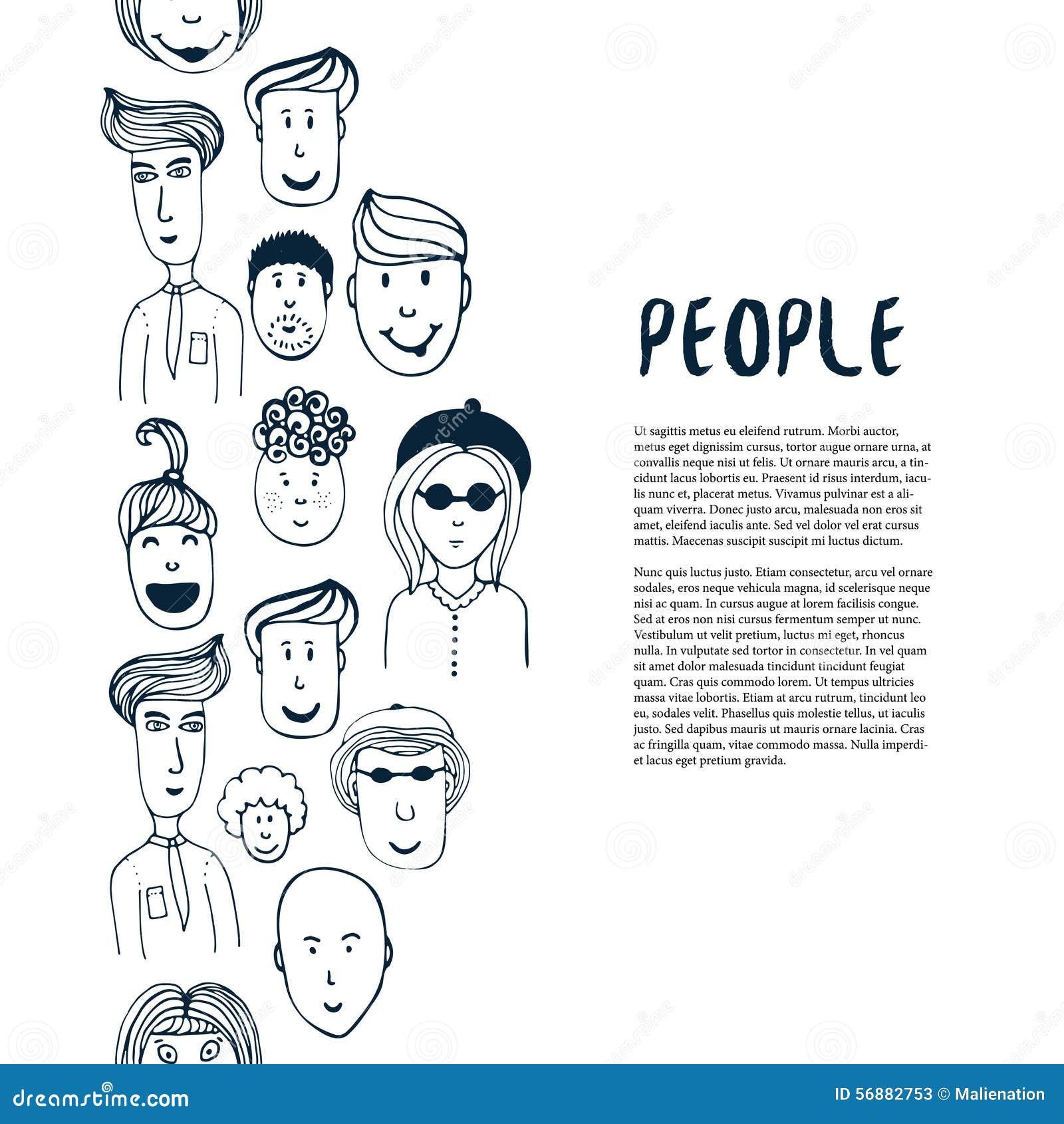 Raccolta disegnata a mano della gente di schizzo Modello di affari di progettazione di vettore Confine con la gente per l aletta