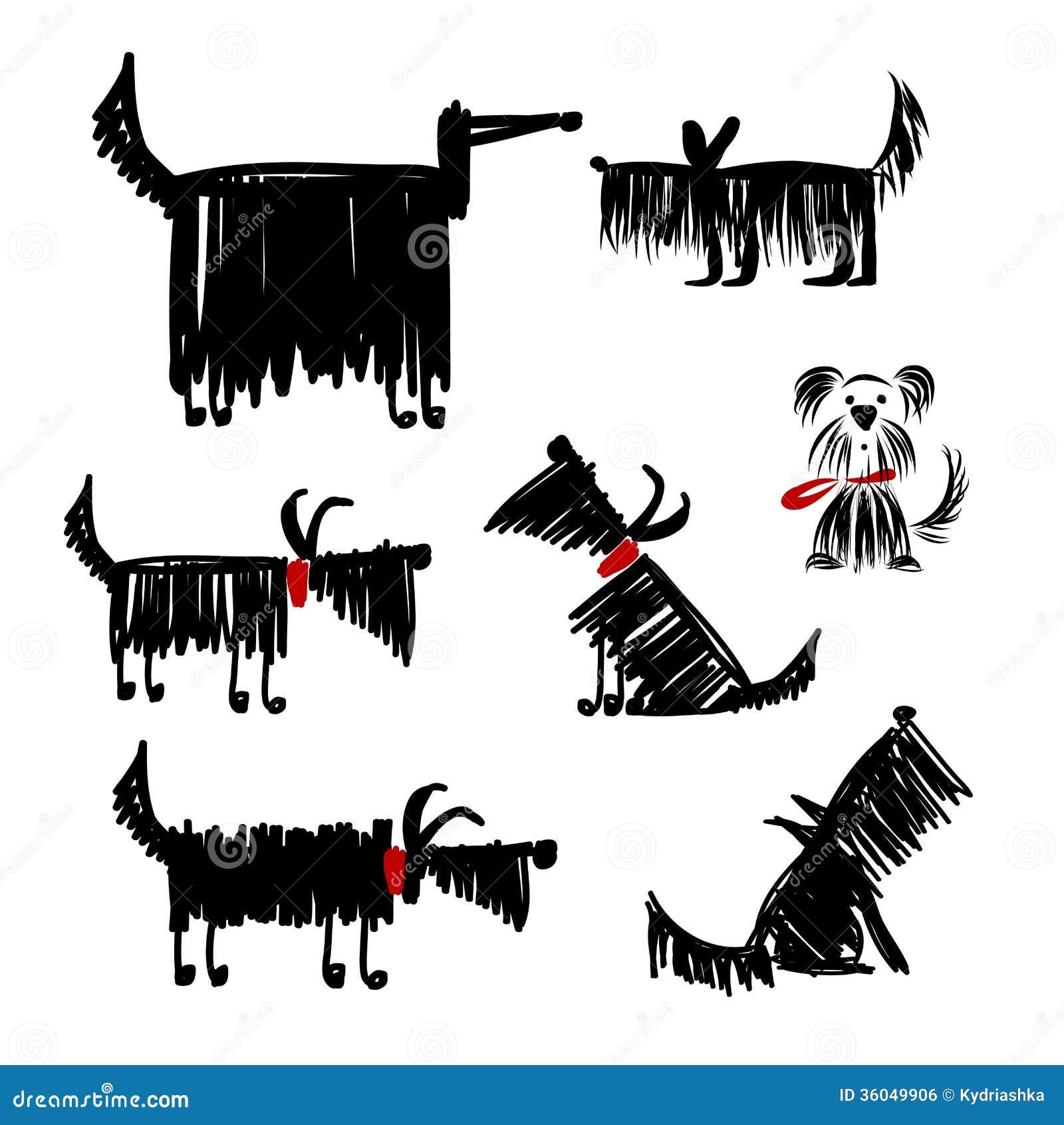 Raccolta divertente dei cani neri per la vostra progettazione