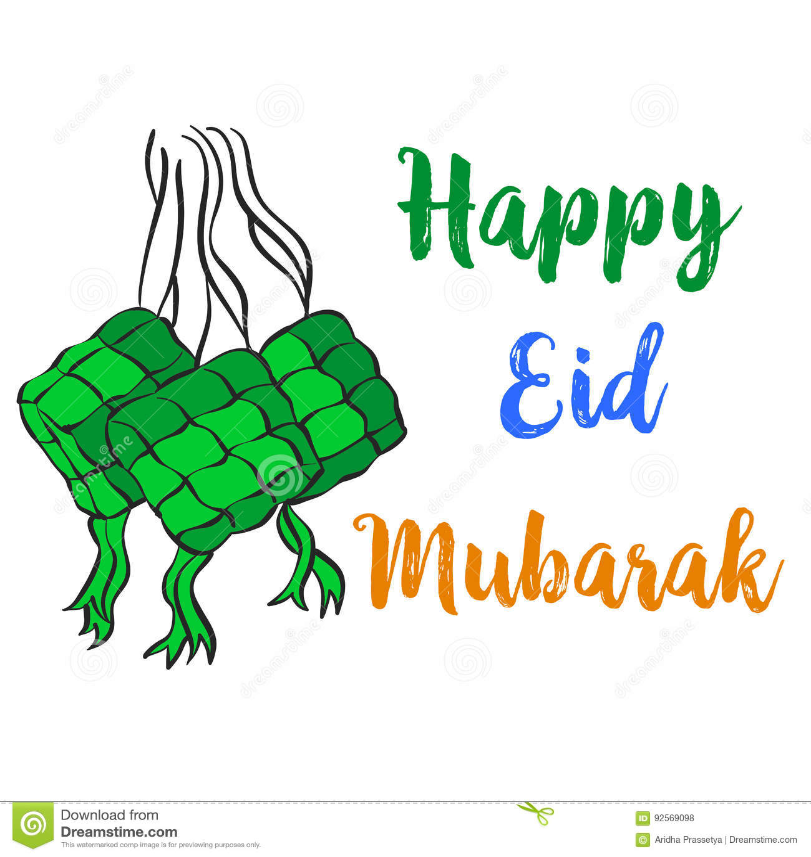 Raccolta felice di tiraggio della mano di stile di Eid Mubarak