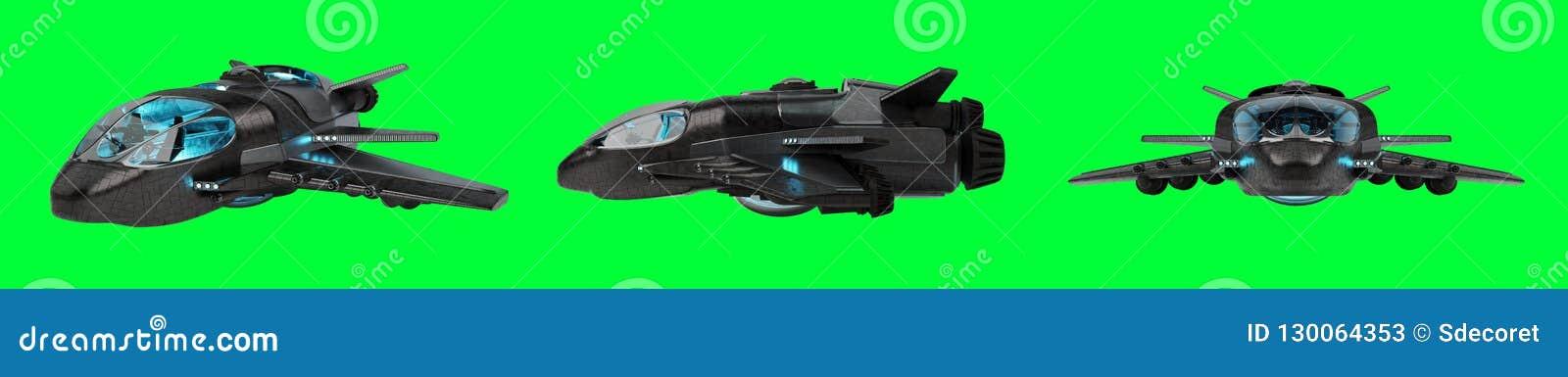 Raccolta futuristica del veicolo spaziale isolata su fondo verde 3D