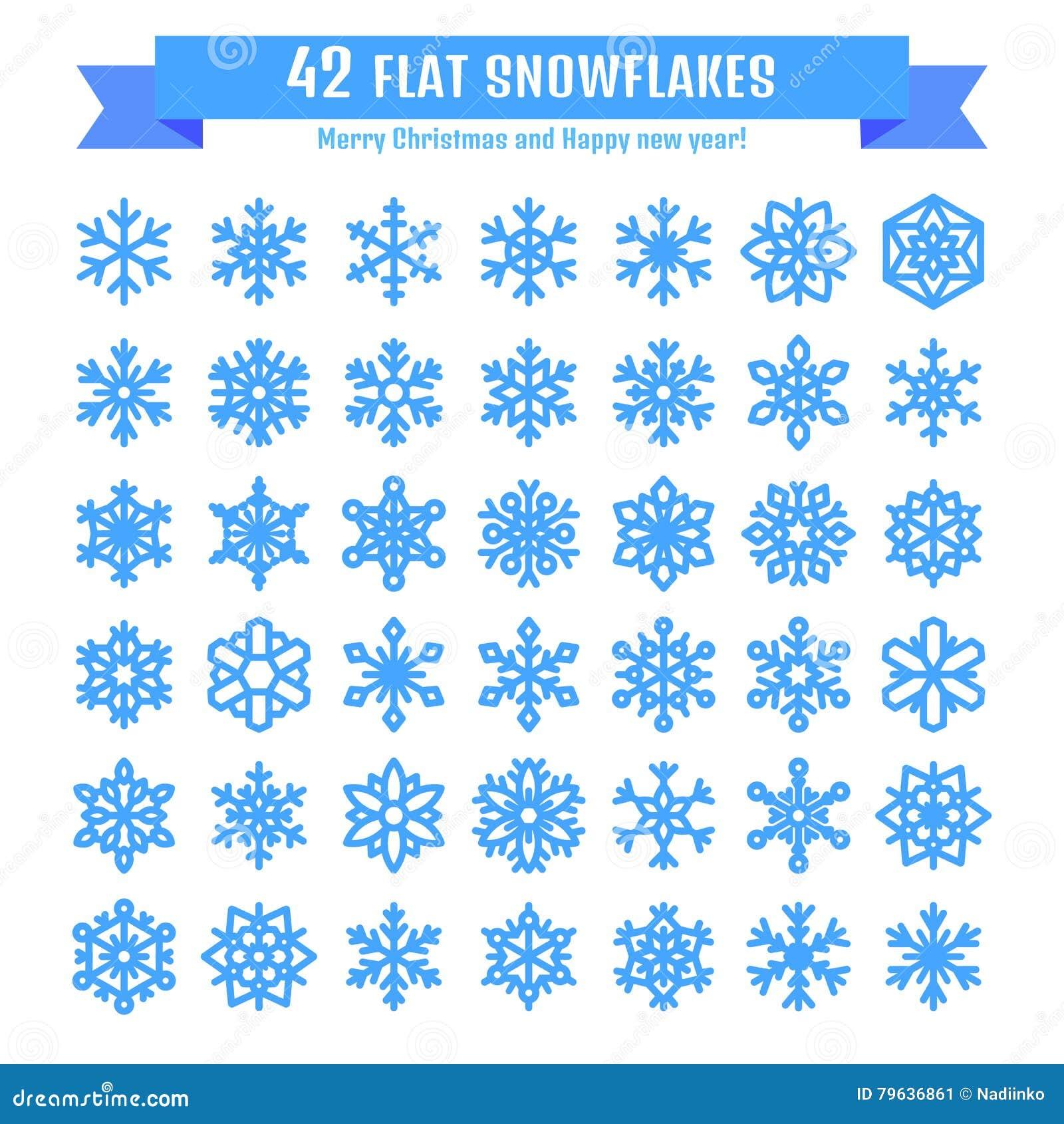 Raccolta sveglia del fiocco di neve isolata su fondo bianco L icona piana della neve, neve si sfalda siluetta Fiocchi di neve pia