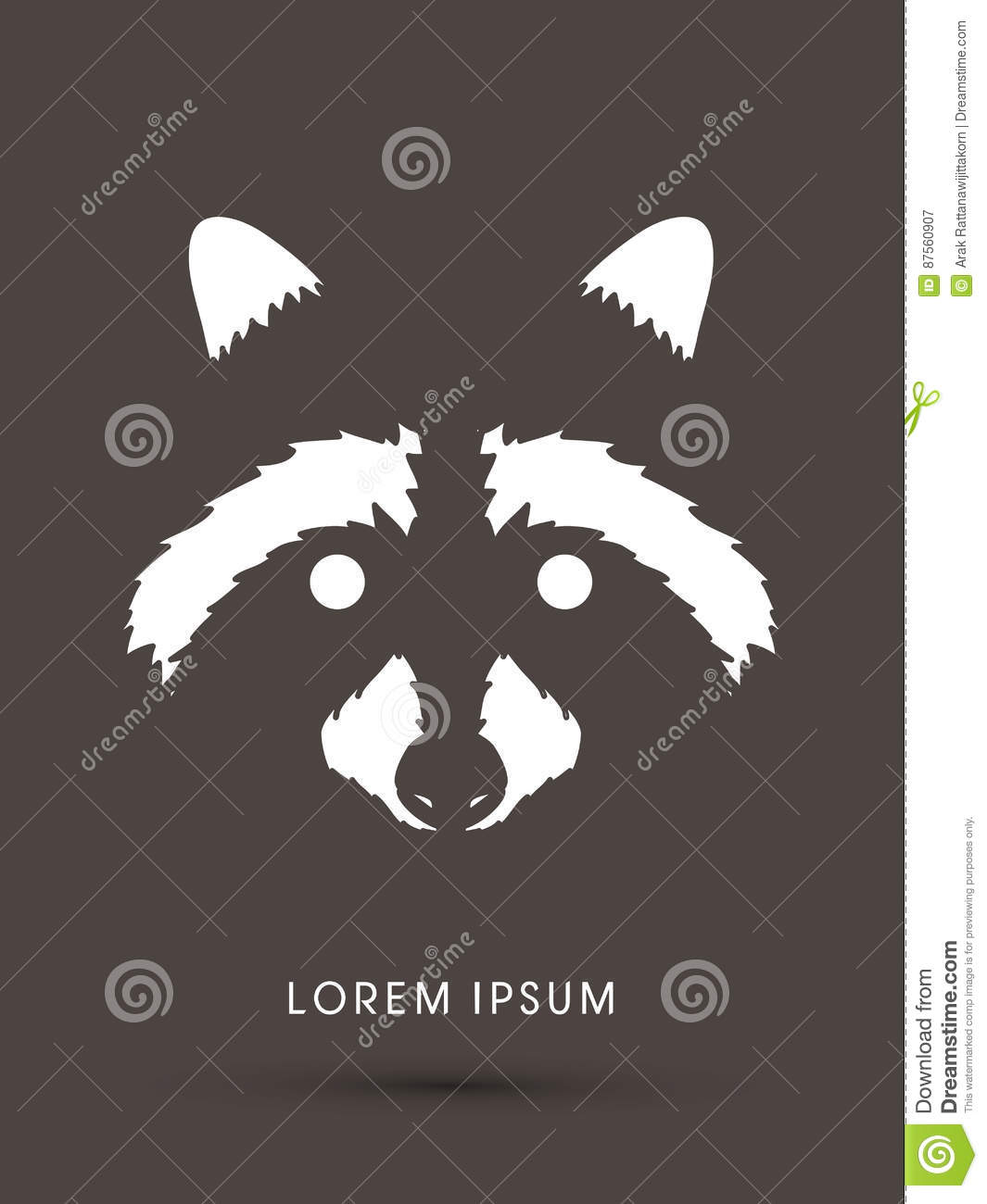 Raccoon Face Graphic Vector  Stock Vector - Illustration of