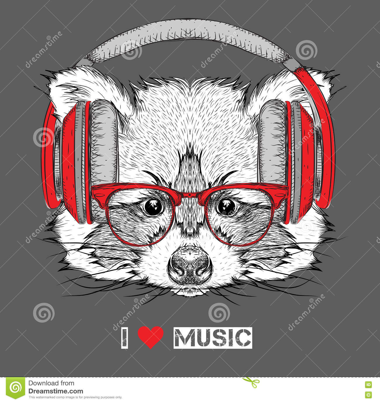 Raccoon In Glasses And Headphones Vector Illustration Stock Vector