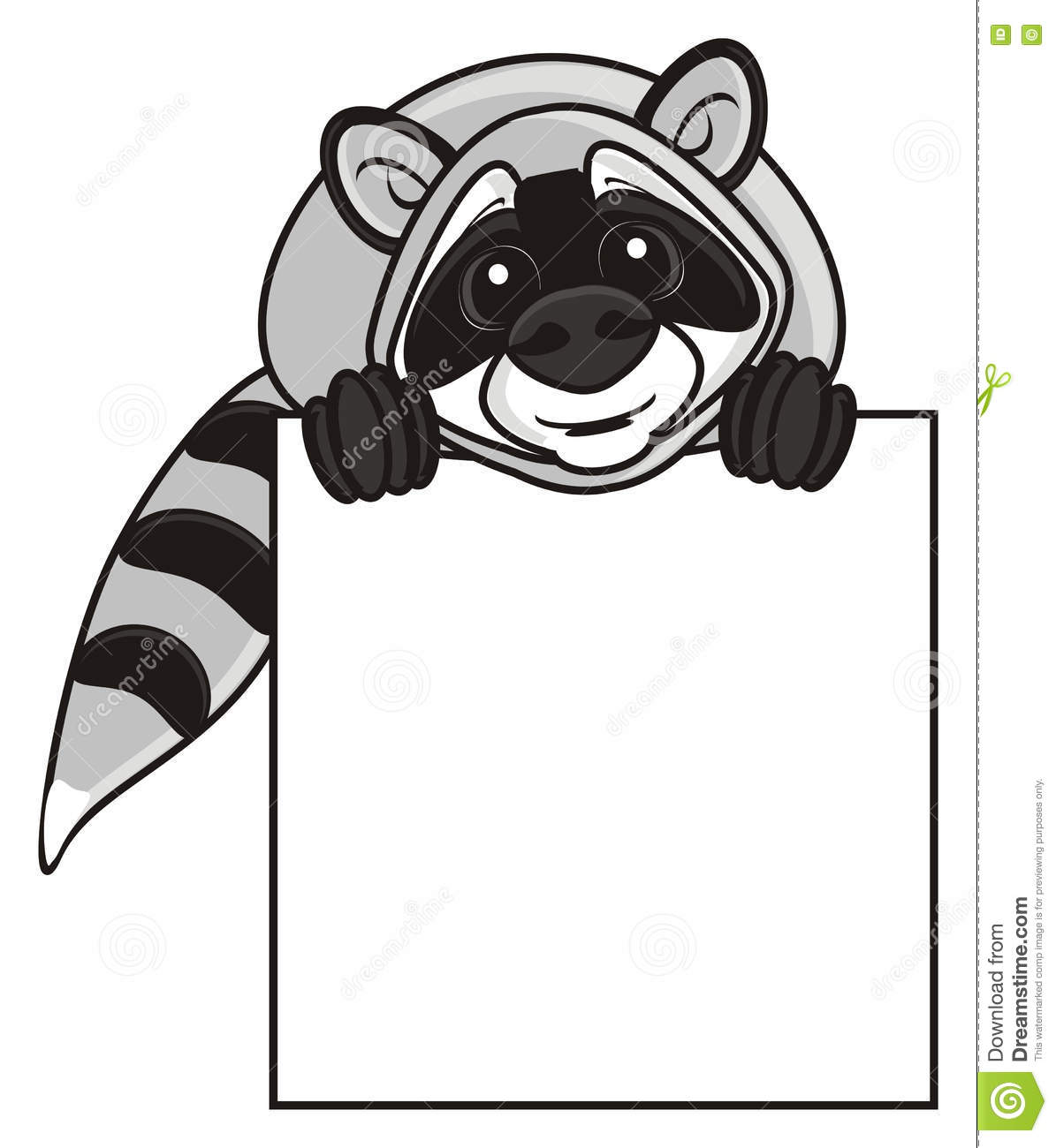 Raccoon Holding An Empty Plate Stock Illustration