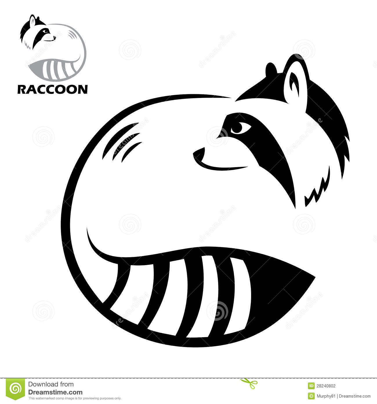 Raccoon label stock vector. Image of sweet, drawing ... Raccoon Face Clip Art Black And White