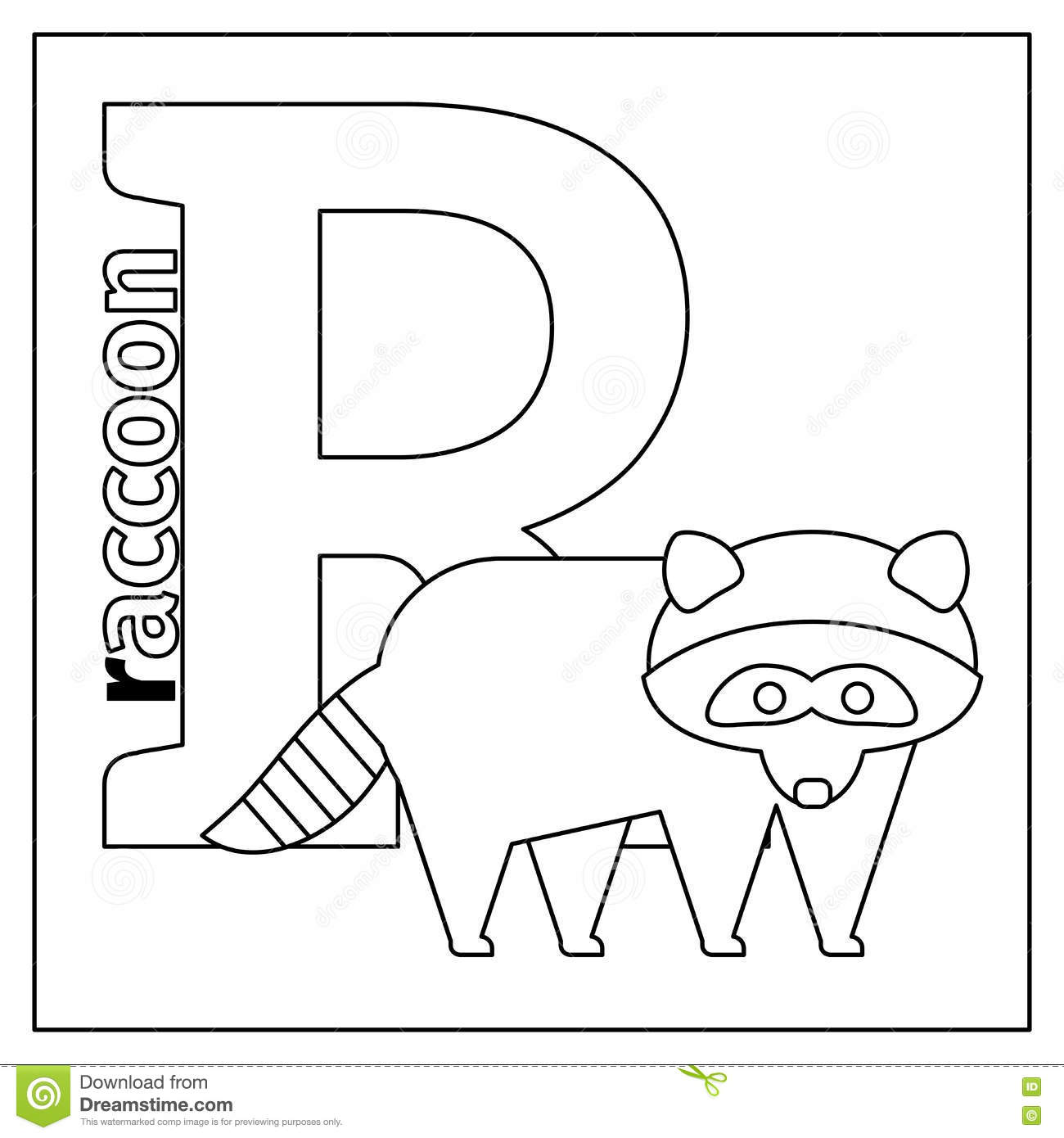 Raccoon Letter R Coloring Page Stock Vector Illustration Of