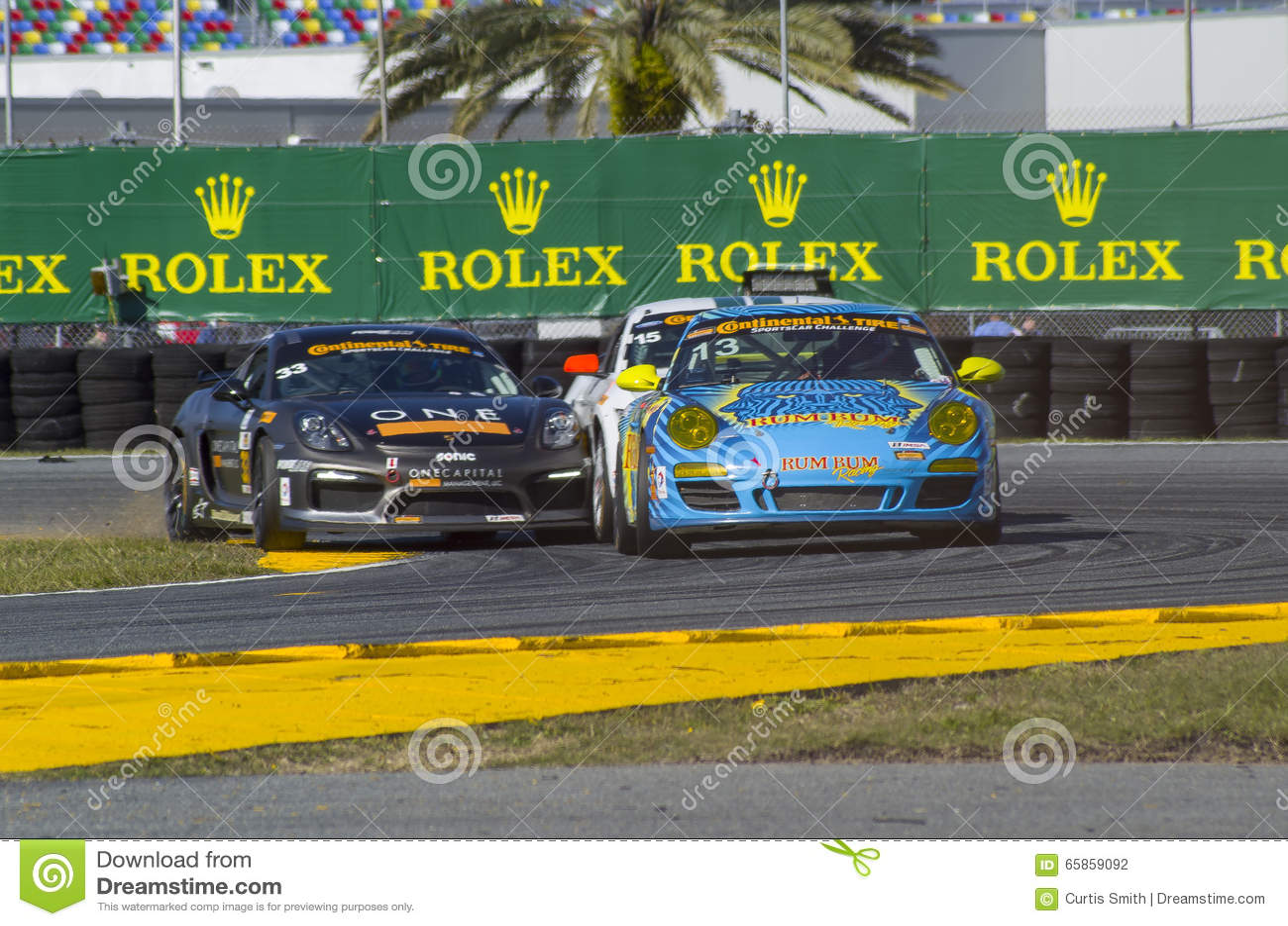 Race Action Collision Of Race Cars At Daytona Speedway Florida