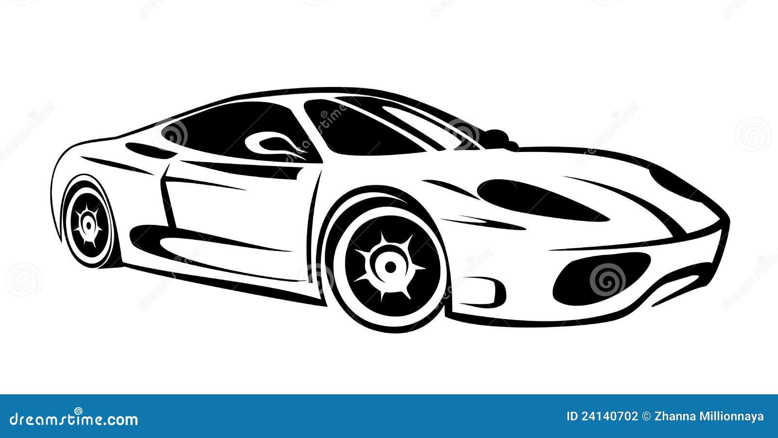 Чёрно-белый рисунок автомобиля