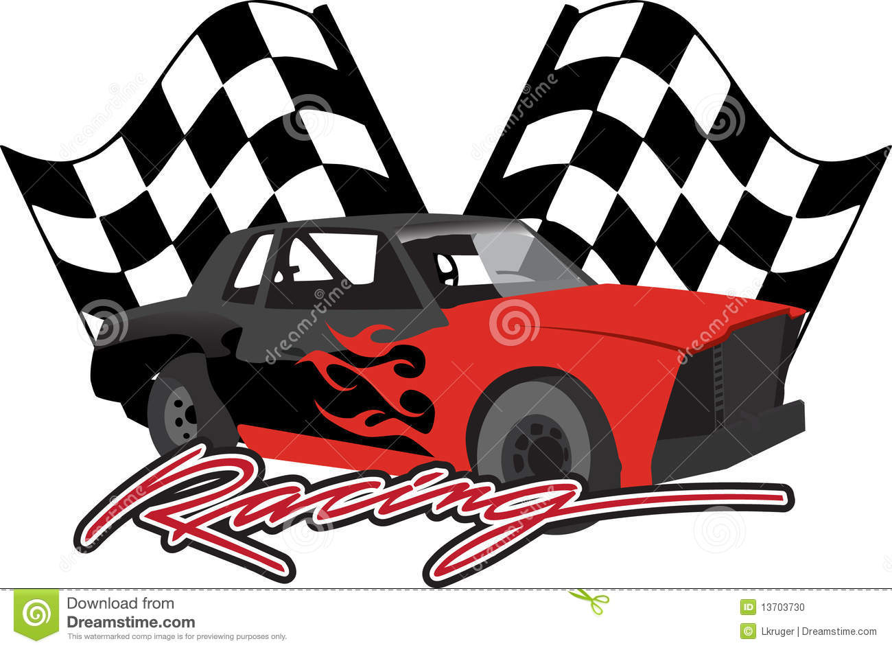 Race Car With Checkered Flags Stock Vector