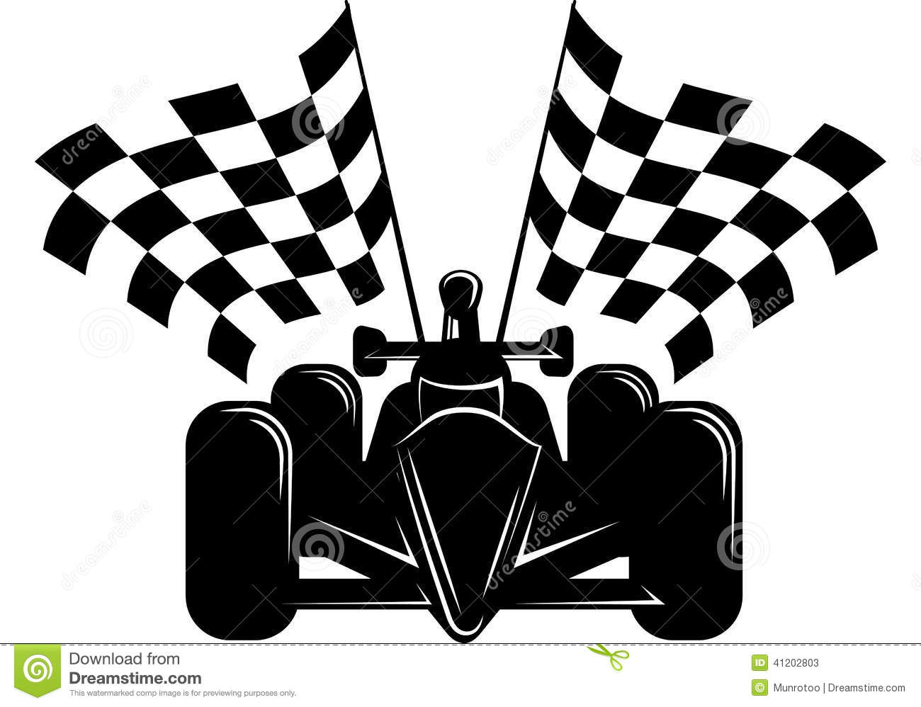 Race Car With Checkered Flags Stock Vector Image