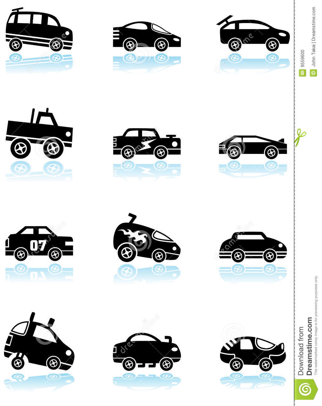 Race Car Icons - black and  Race Car Icon