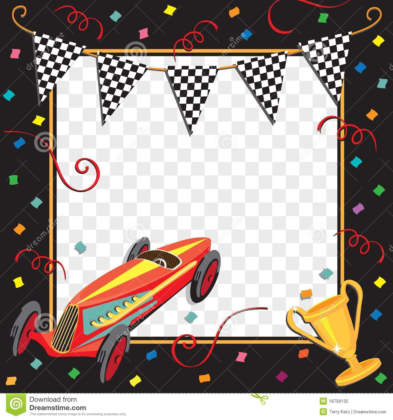 Race Car Party Invitation Stock Vector Illustration Of
