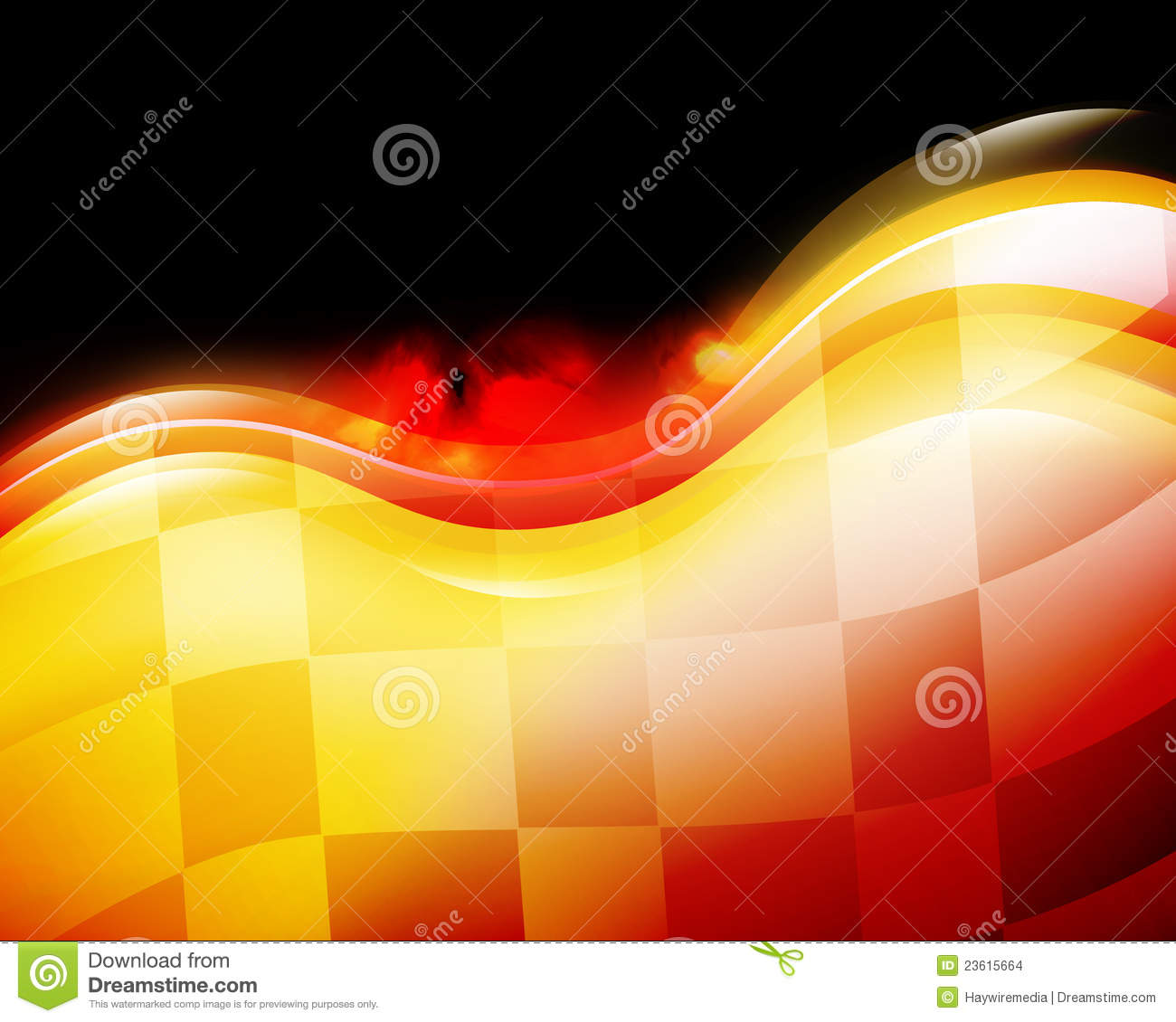 speed race car background with red and yellow waves on a black ...