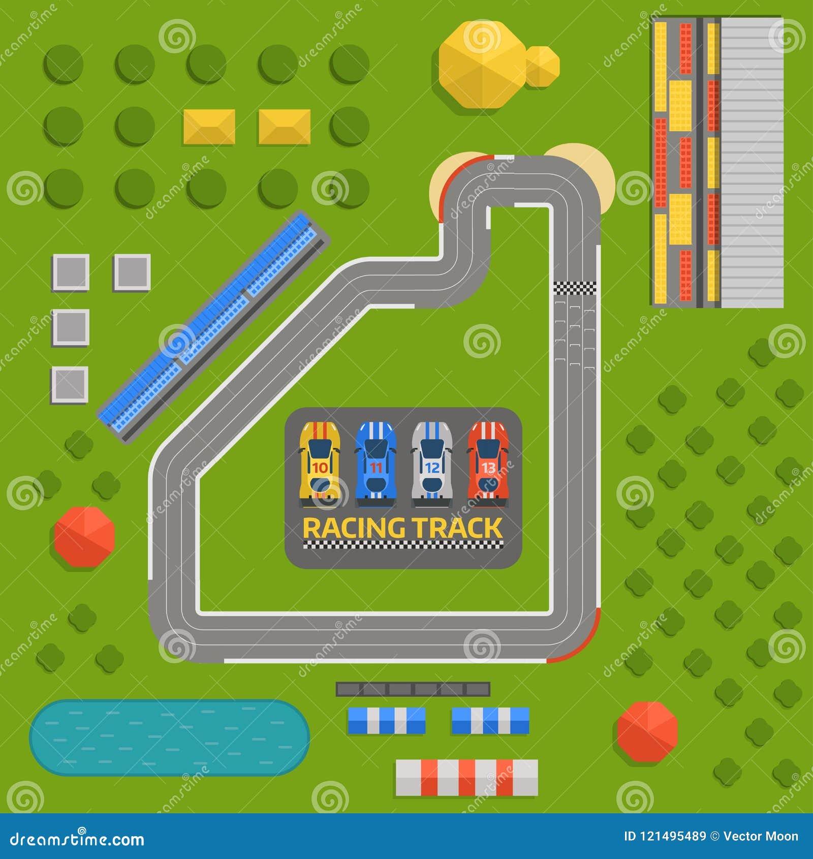 Race Car Sport Track Curve Road Vector Top View Of Car Sport