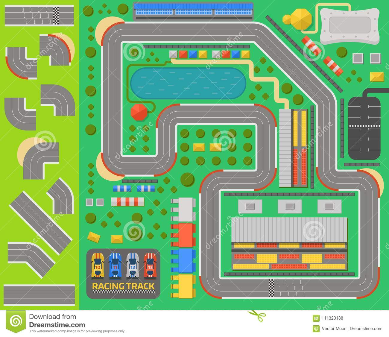 Race Car Sport Track Curve Road Vector Top View Of Car Sport