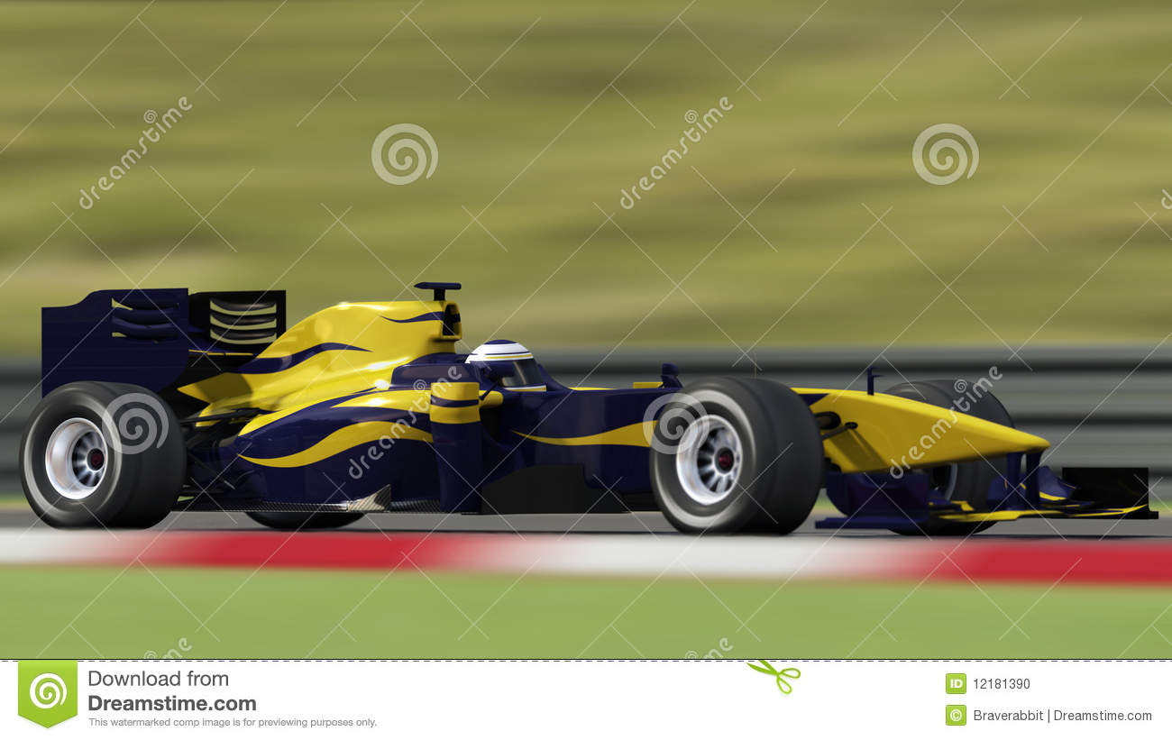Race Car On Track Side View Stock Photo Image