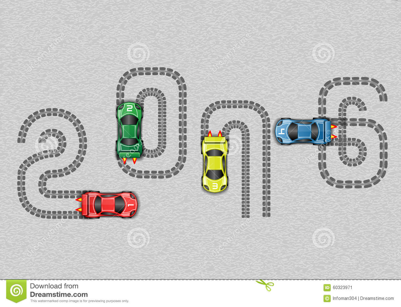 Race Cars Happy New Year Stock Photo Image