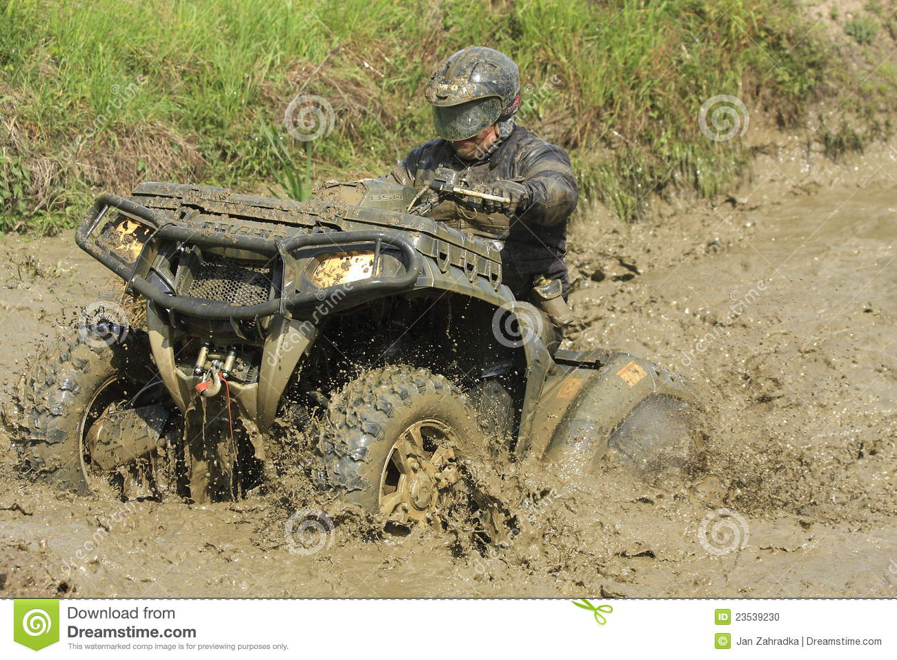 Race Four Wheeler Driver In Puddle Of Mud Editorial Image